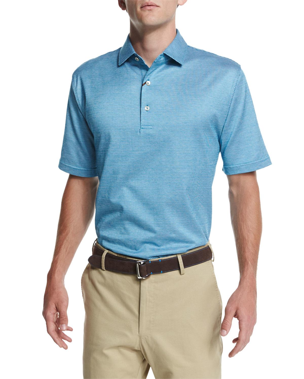 Peter millar jacquard stripe lisle knit polo shirt in blue for Peter millar polo shirts