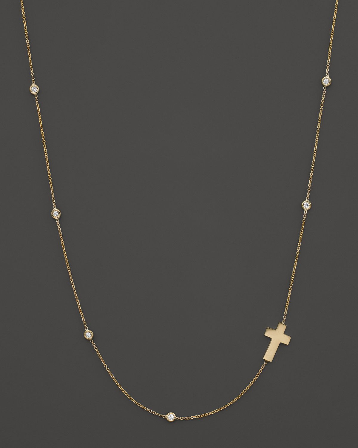 Roberto Coin 18k Yellow Gold Sideways Cross Necklace With