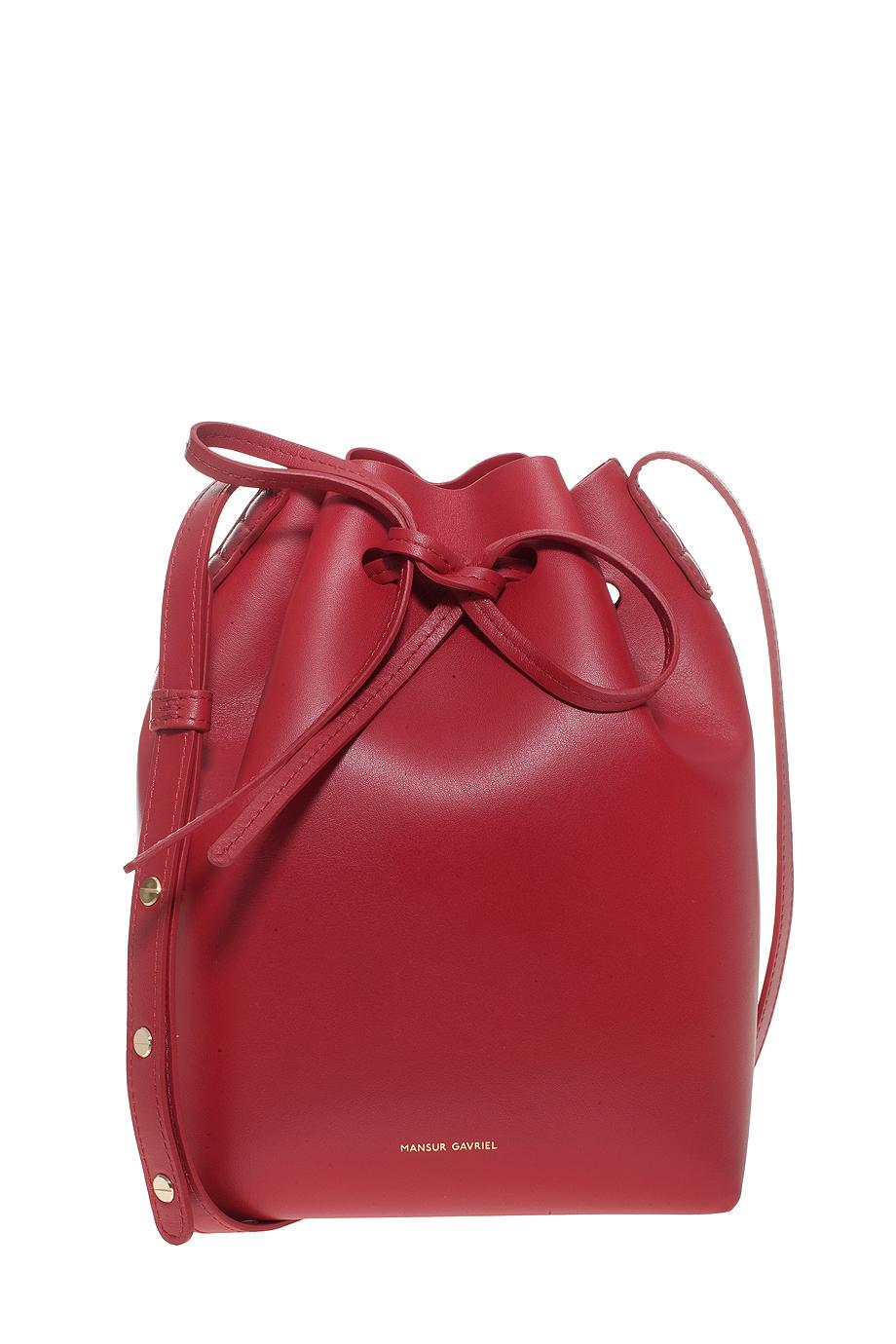 Lyst Mansur Gavriel Mini Calf Coated Bucket Bag In Red