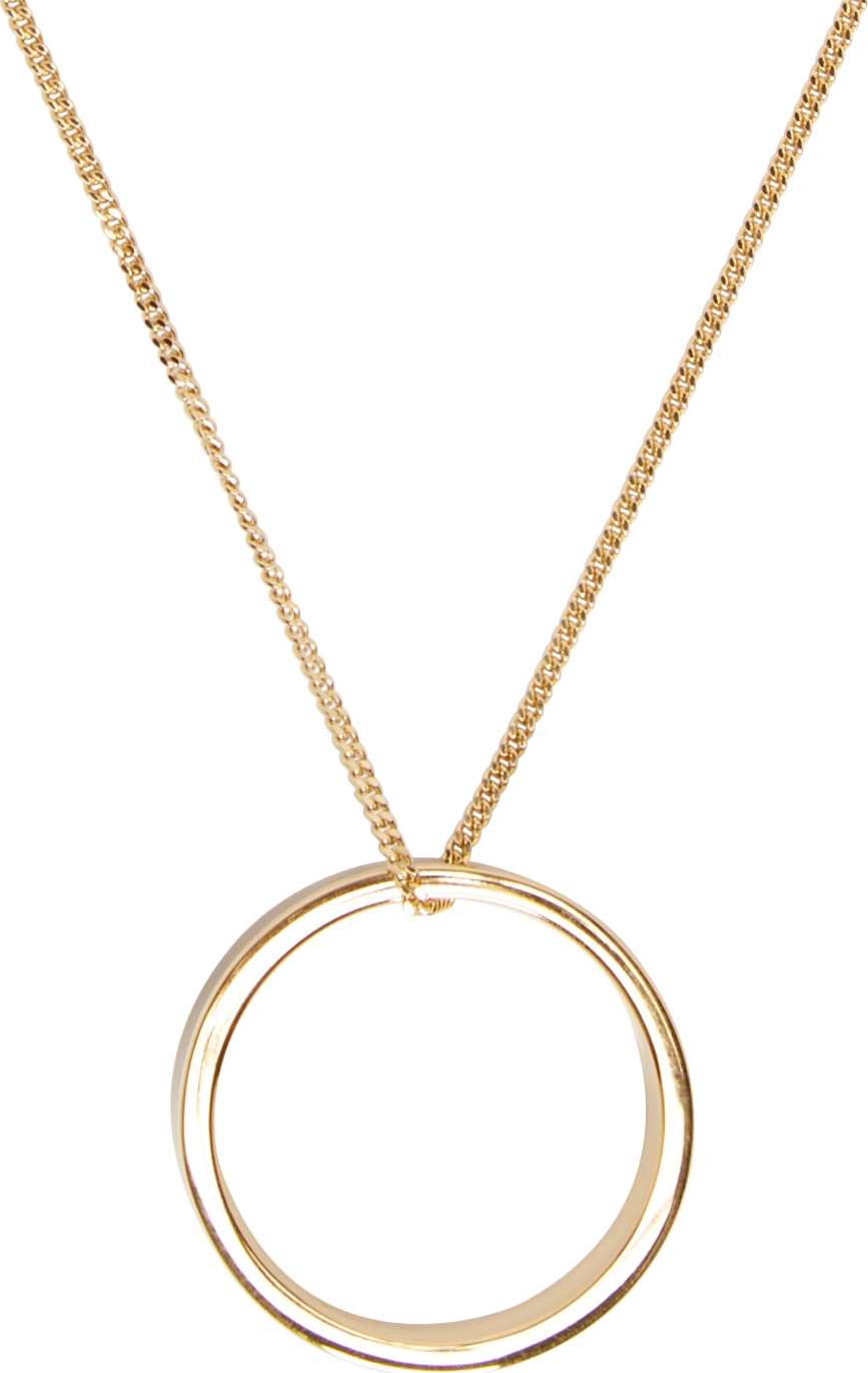 Lyst apc gold and black ring pendant lucky necklace in metallic gallery aloadofball Images
