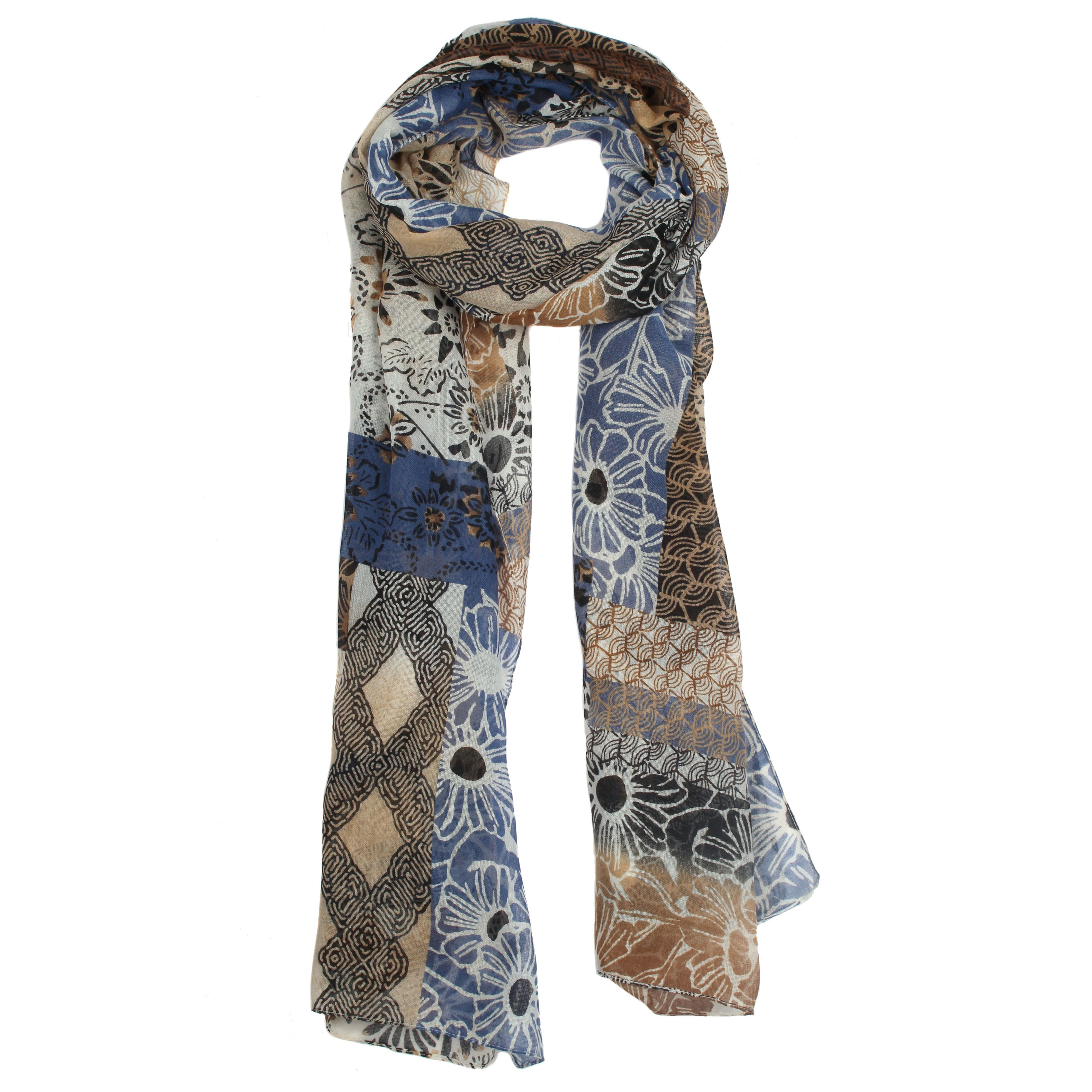 dents patchwork geometric floral print scarf in lyst