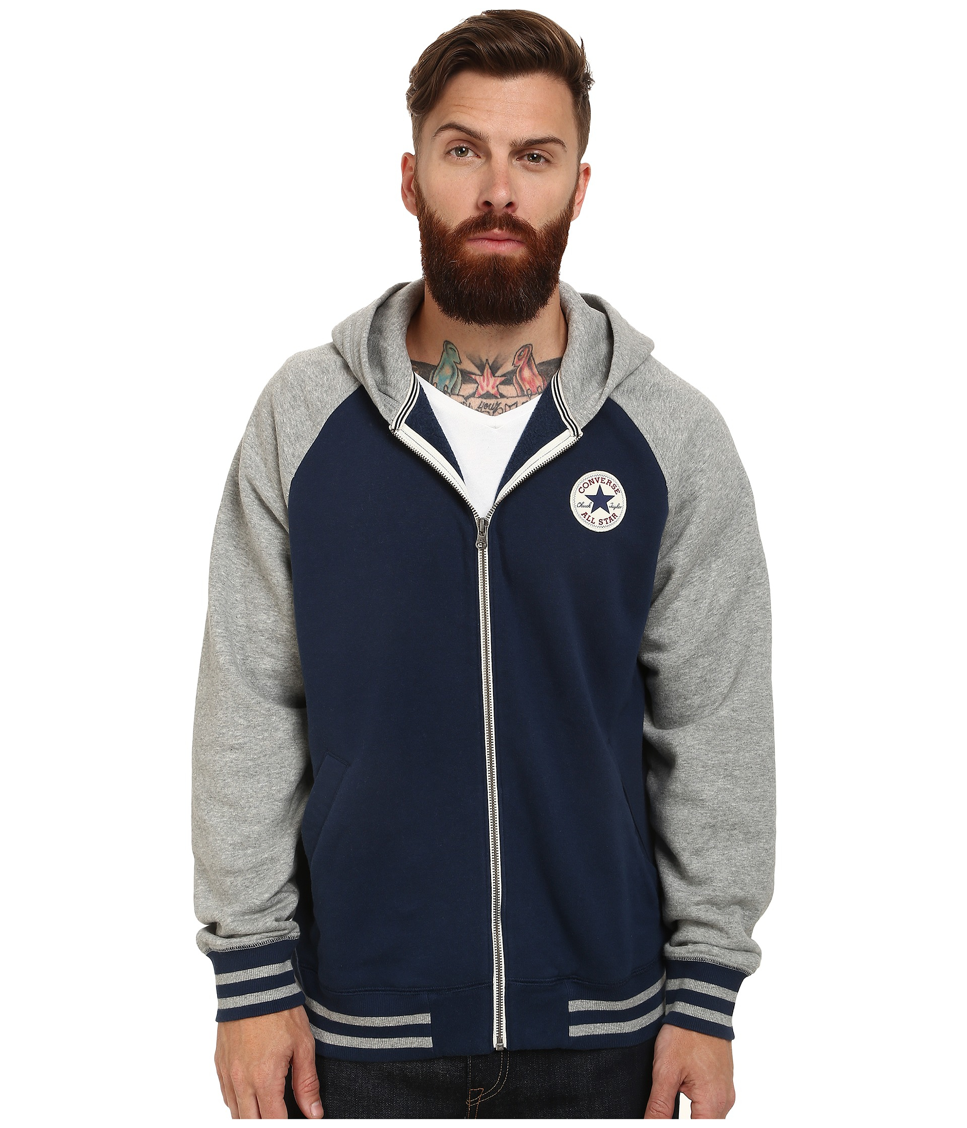 Converse Patch Hooded Baseball Jacket in Blue for Men | Lyst