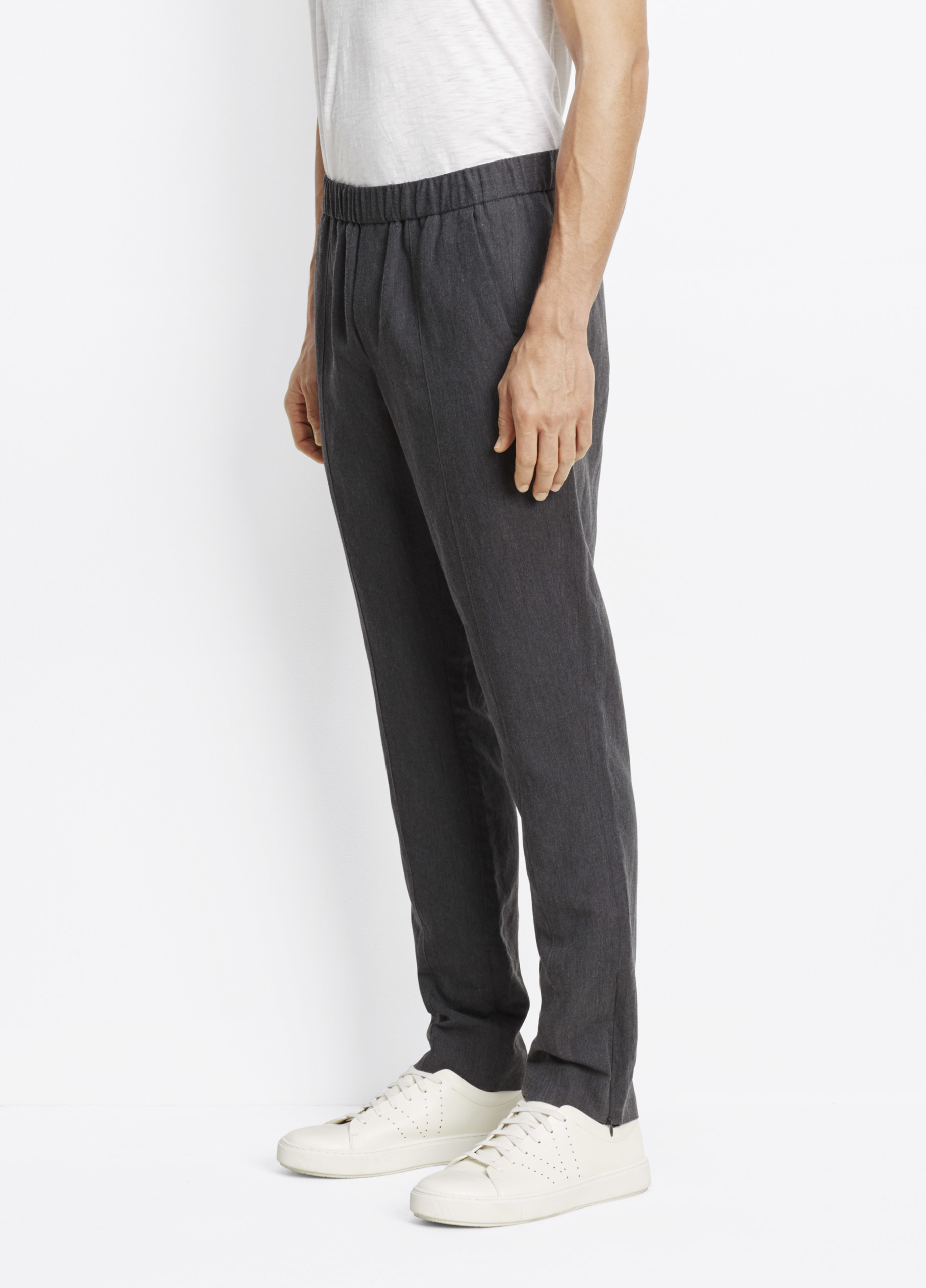 Vince Linen Tencel Pleated Trouser With Ankle Zip in Grey for Men