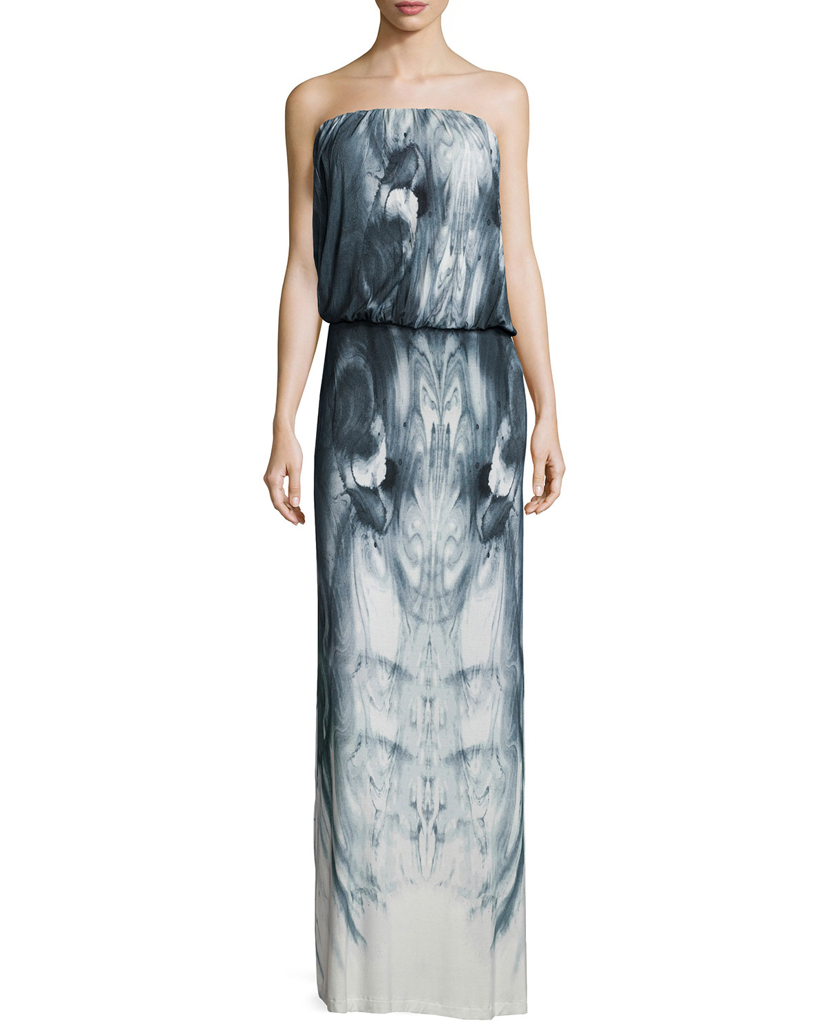 Young fabulous & broke Strapless Marble Maxi Dress in Gray ...
