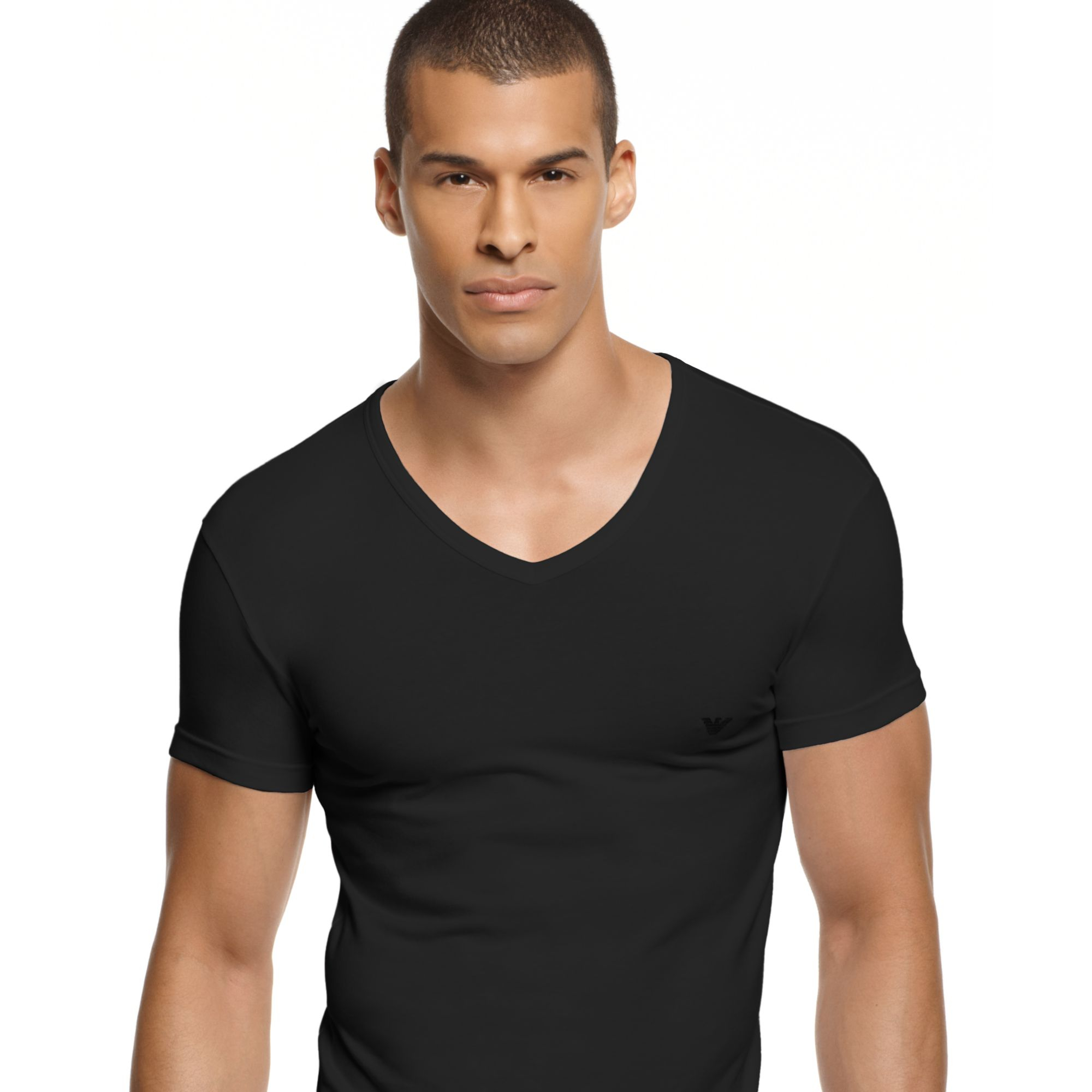 Emporio armani eagle v neck t shirt in black for men lyst V neck black t shirt