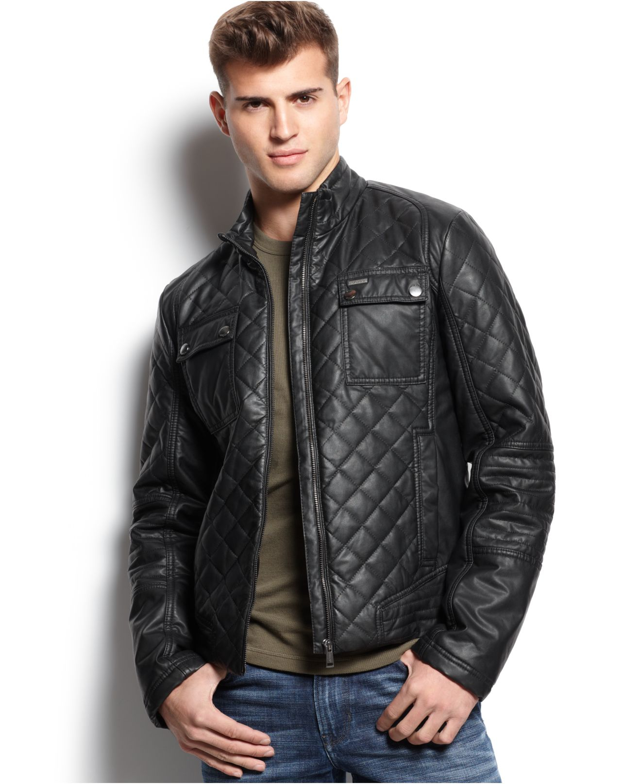Guess Diamond Quilted Jacket in Black for Men | Lyst : black quilted jacket mens - Adamdwight.com