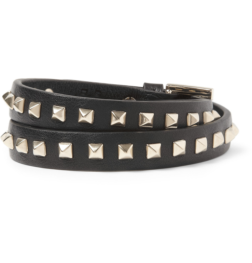 Valentino Studded Leather Wrap Bracelet In Black For Men