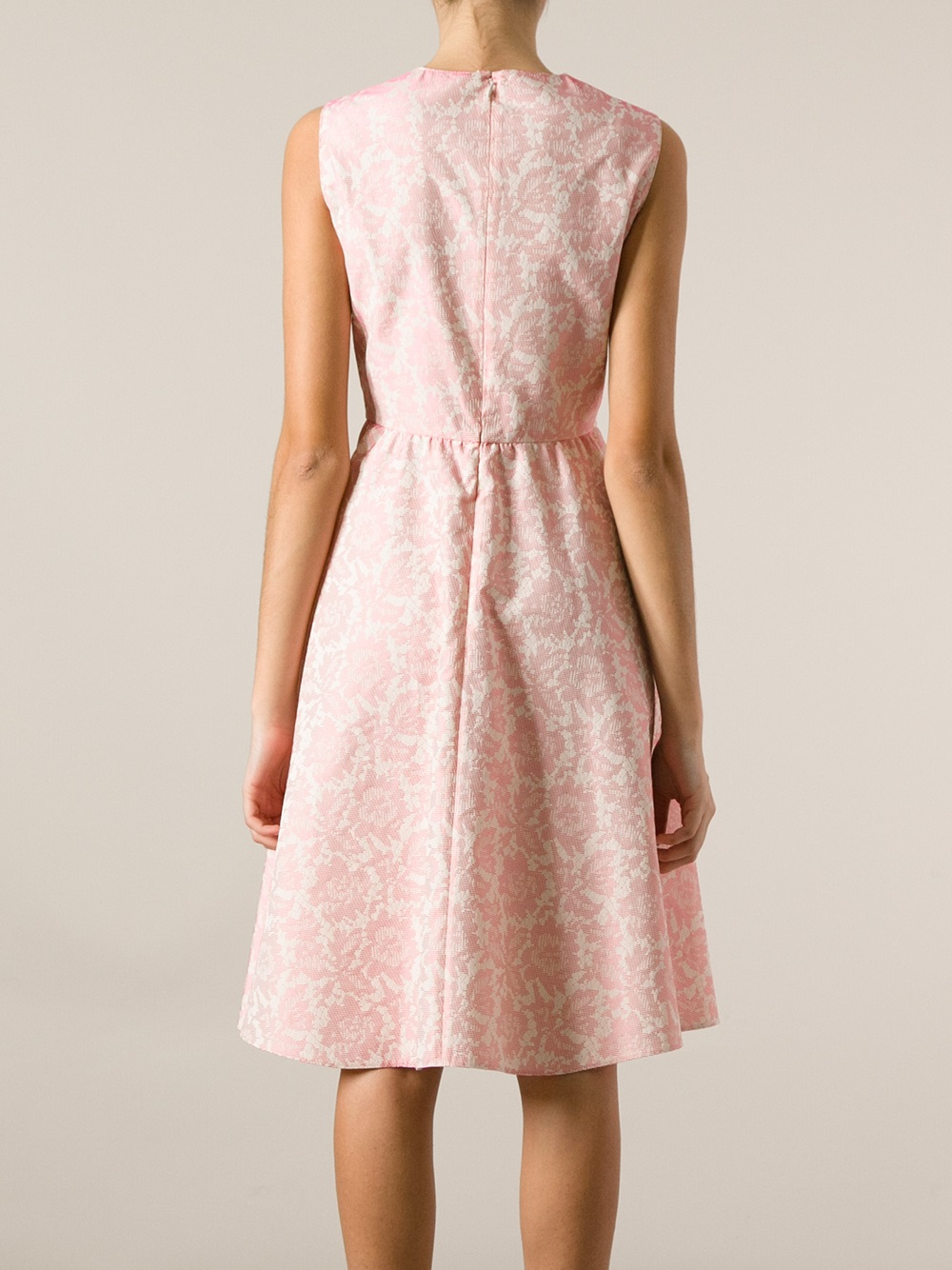 Lyst Valentino Floral Jacquard Dress In Pink