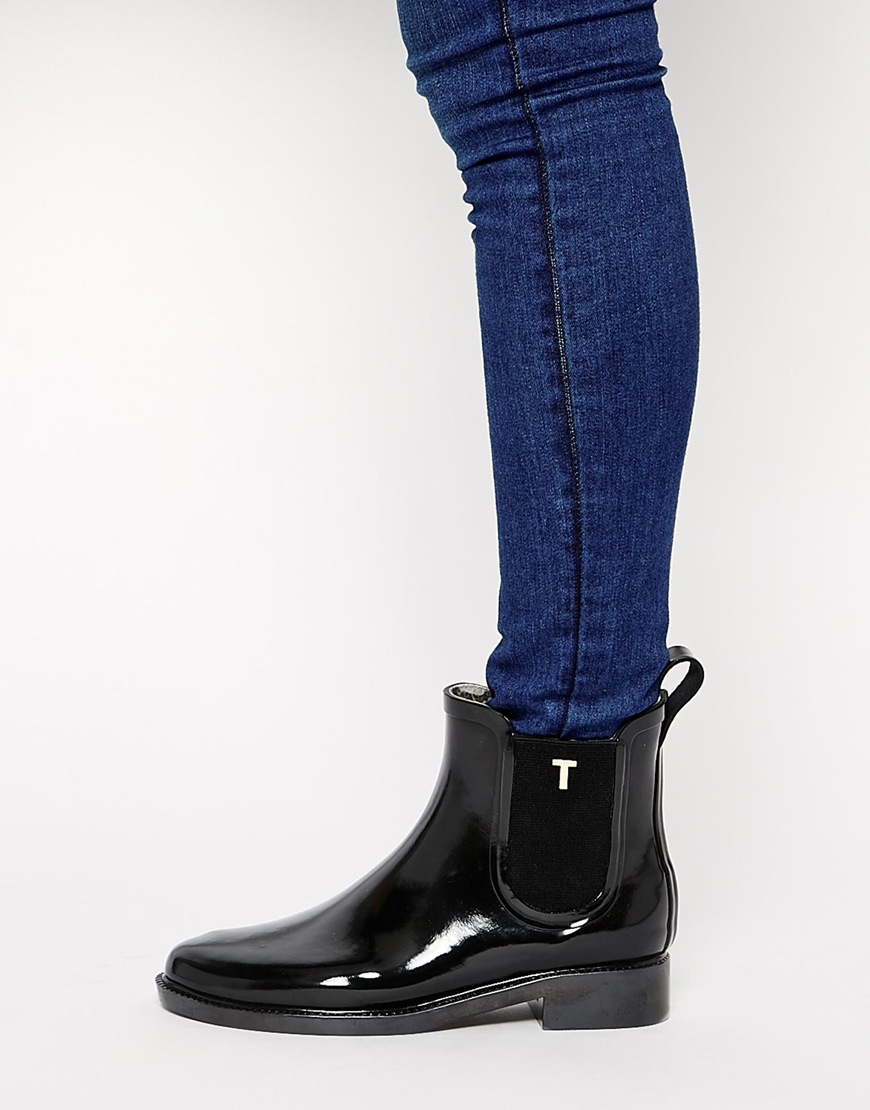 4421c768602ac7 Lyst - Ted Baker Lyran Black Rubber Ankle Boots in Black