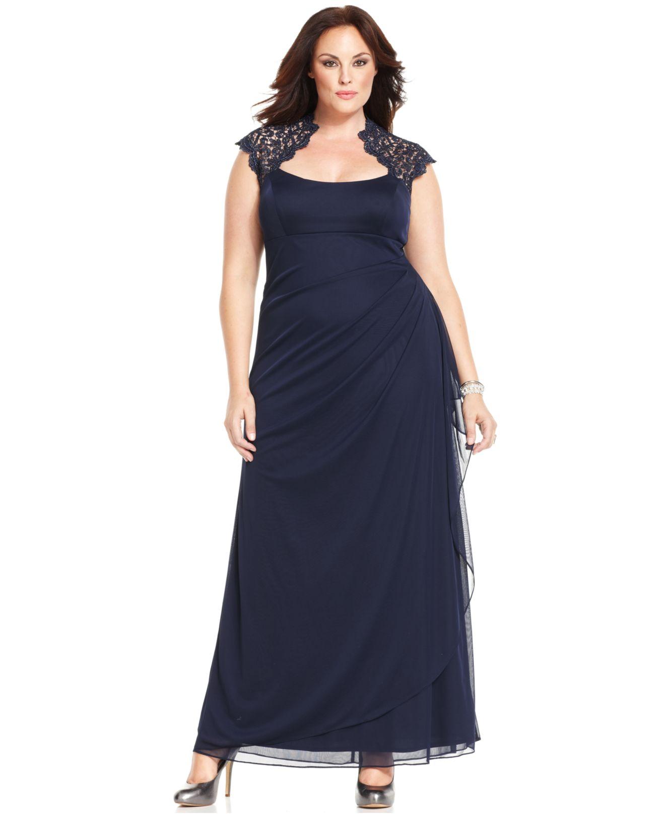 Xscape plus size dress three-quarter-sleeve lace - Boulcom dress ...