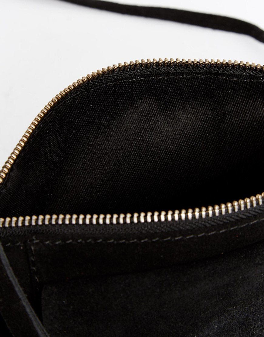 c0202c6df ASOS Festival Suede Cross Body Bag With V Front in Black - Lyst