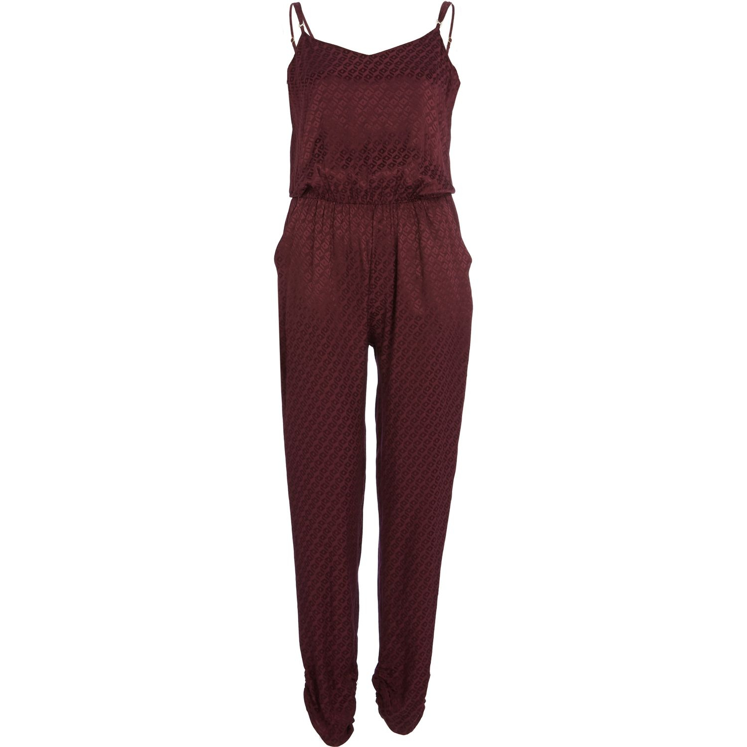 3f2417f8413 River Island Dark Red Tile Jacquard Cami Jumpsuit In Red