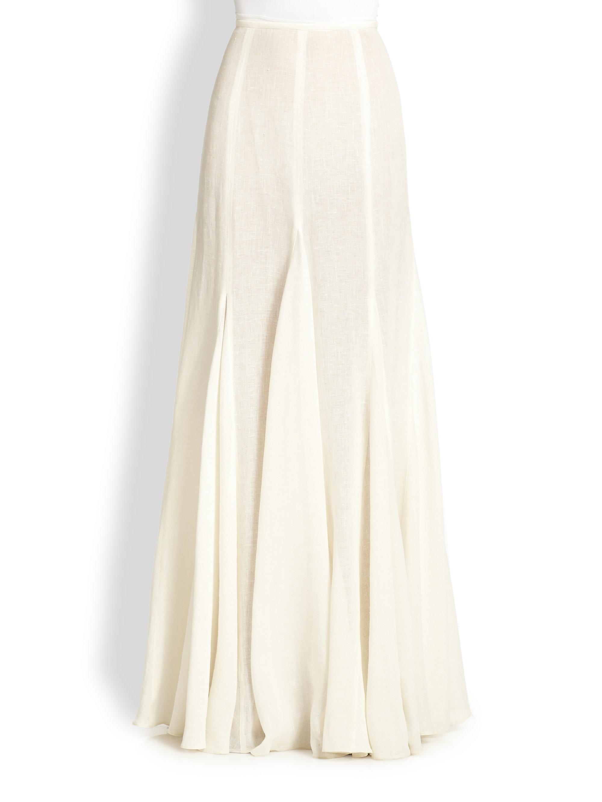 michael kors linen maxi skirt in white lyst