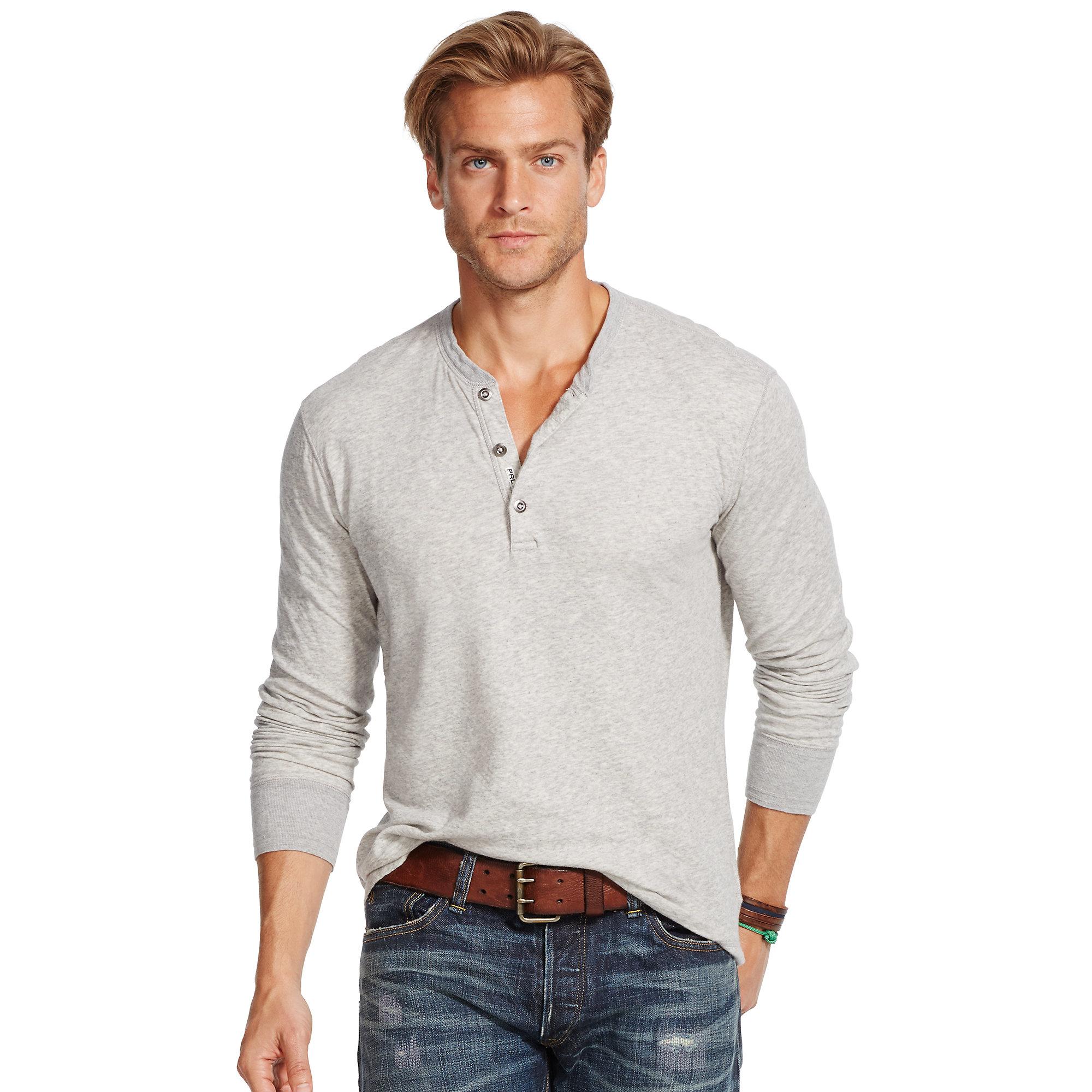 Cotton Men Henley Gray Ralph Lauren Polo Jersey For lT1KFJc3