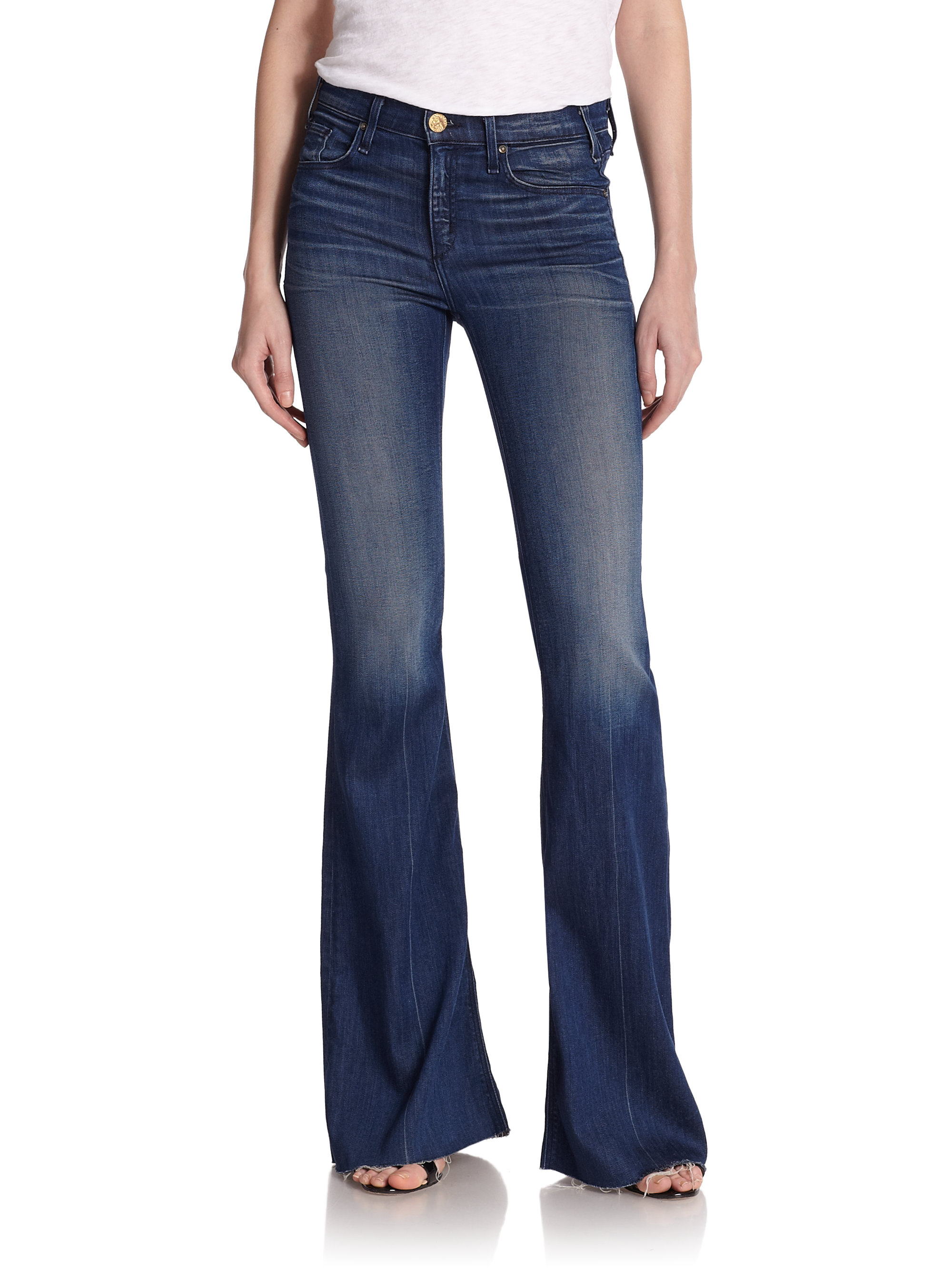Mcguire Majorelle Distressed High-waist Flared Jeans in Blue | Lyst