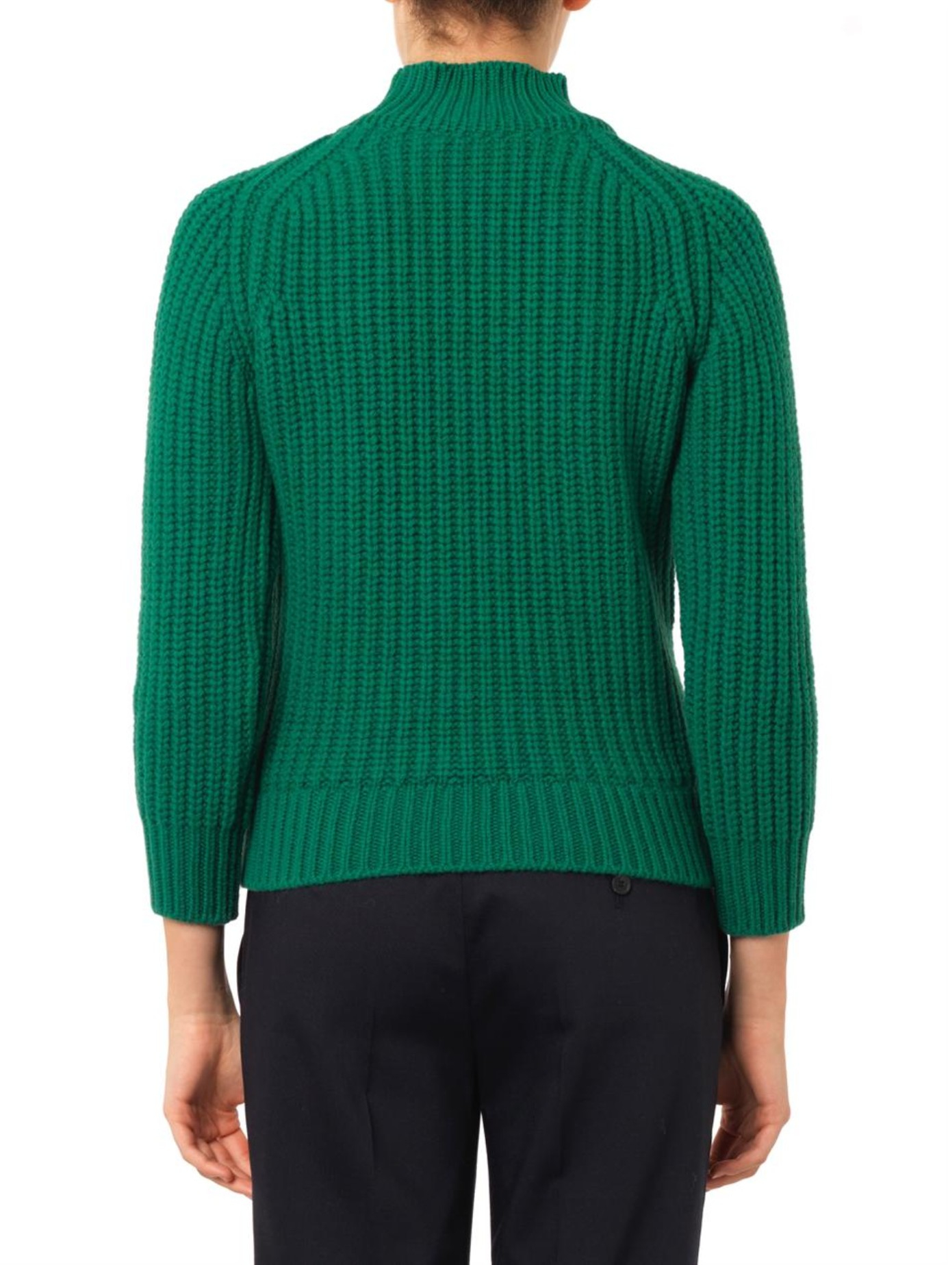 Maison kitsuné Ribbed-knit Wool Sweater in Green | Lyst