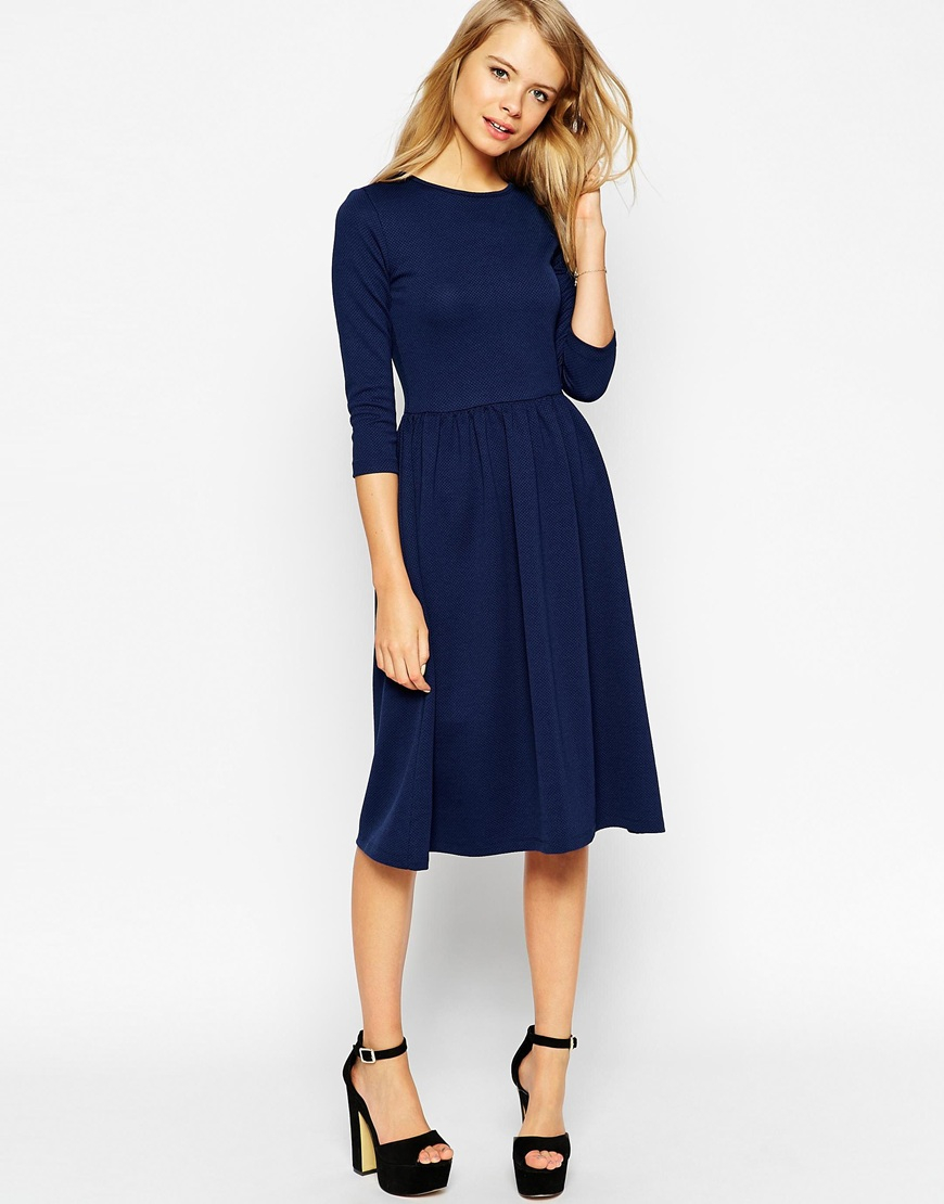 0438c72694 Lyst - ASOS Midi Skater Dress In Texture With 3 4 Sleeves in Blue