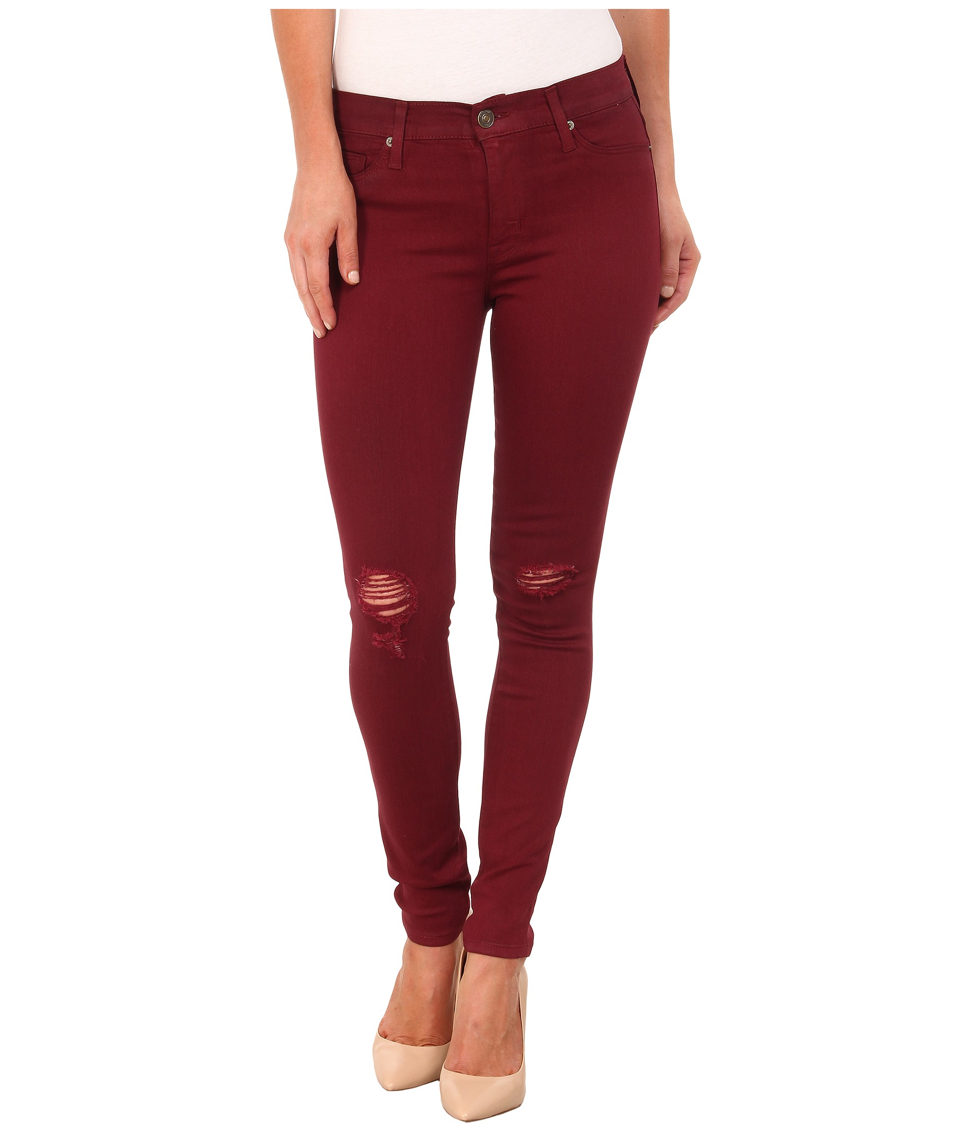 Hudson jeans Coated Nico Mid Rise Skinny Jeans In Crimson Wax ...