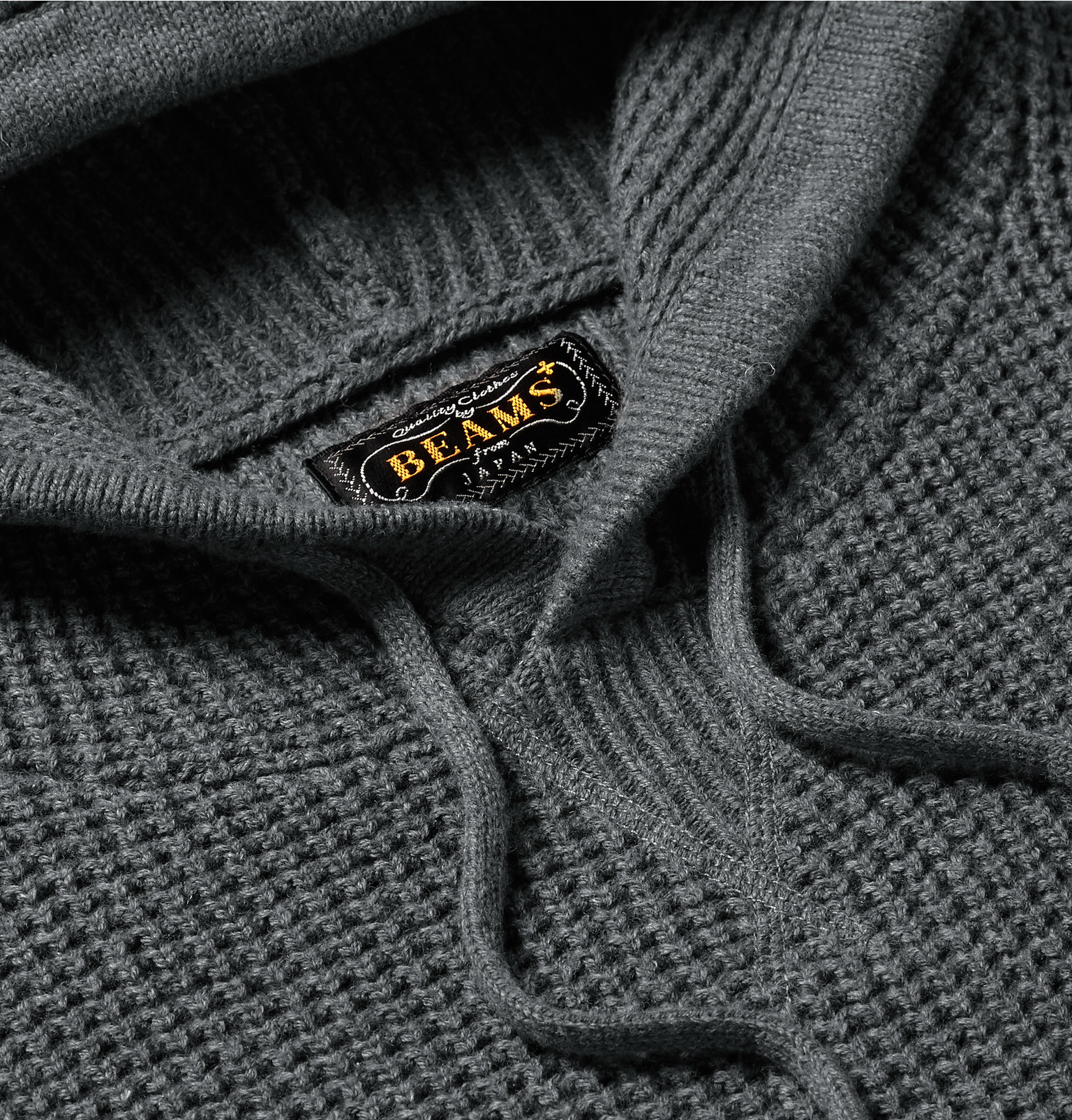 Beams Plus Waffle Knit Cotton Blend Hoodie In Gray For Men Lyst
