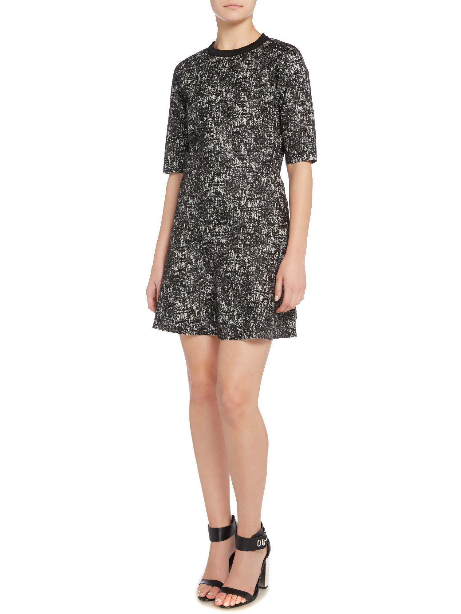 Calvin Klein Raana Short Sleeve Tweed Look Dress In
