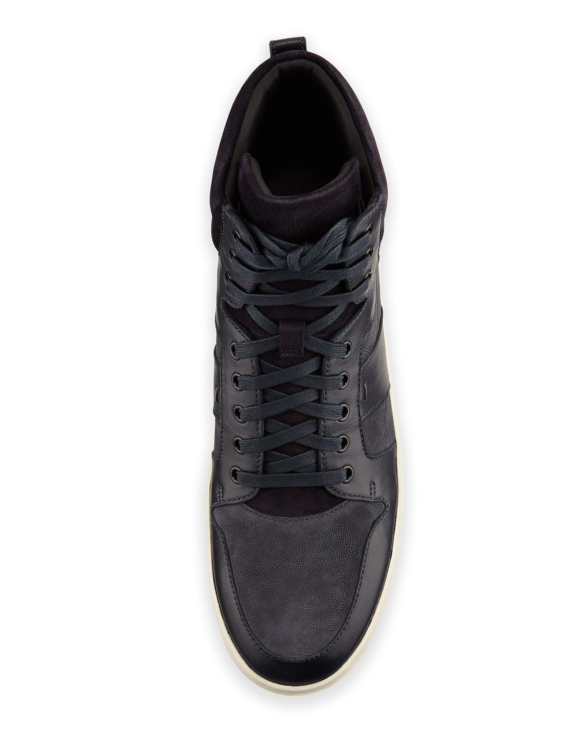vince adam mens leather high top sneaker in blue for