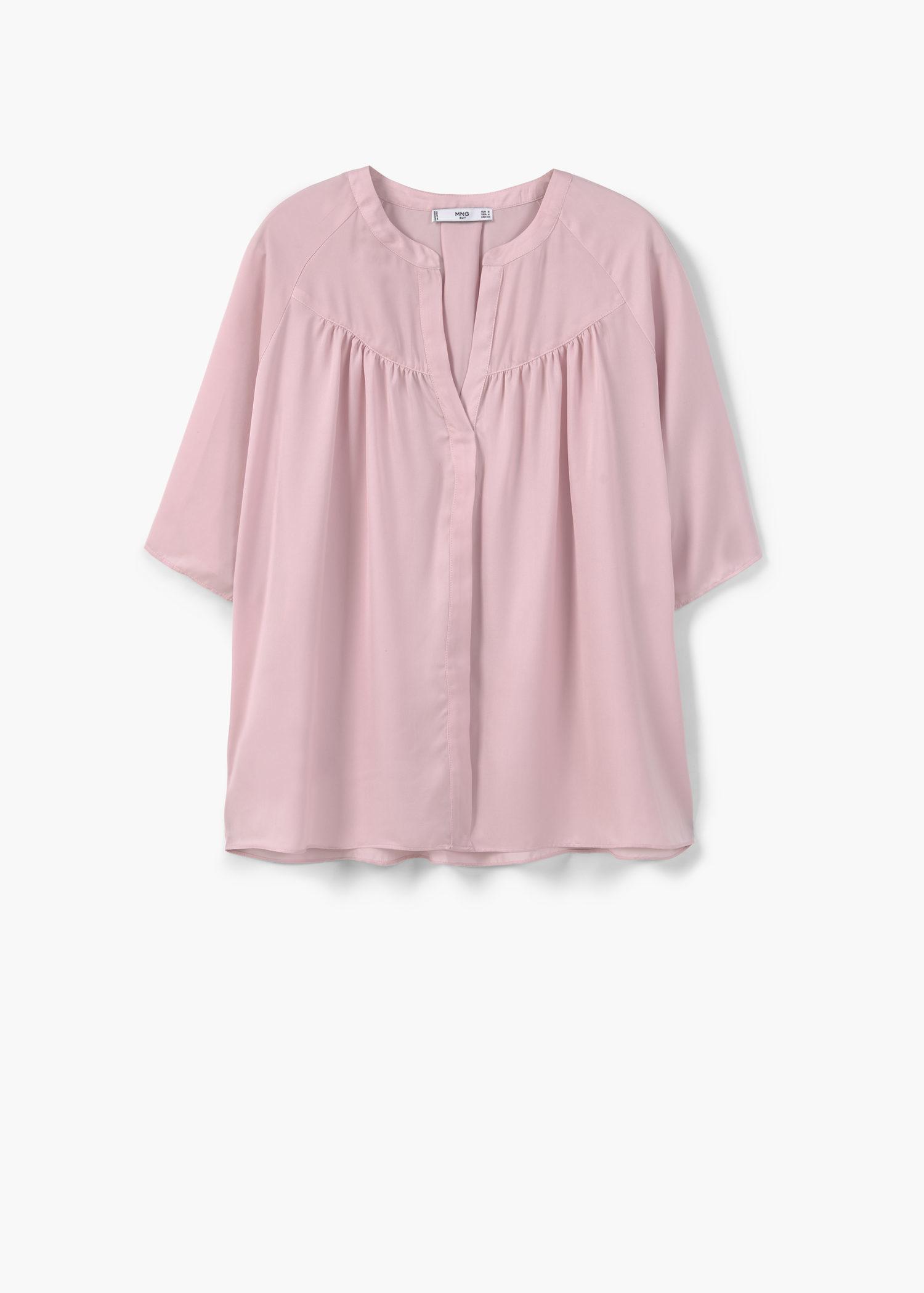 Mango Flowy Blouse in Pink | Lyst