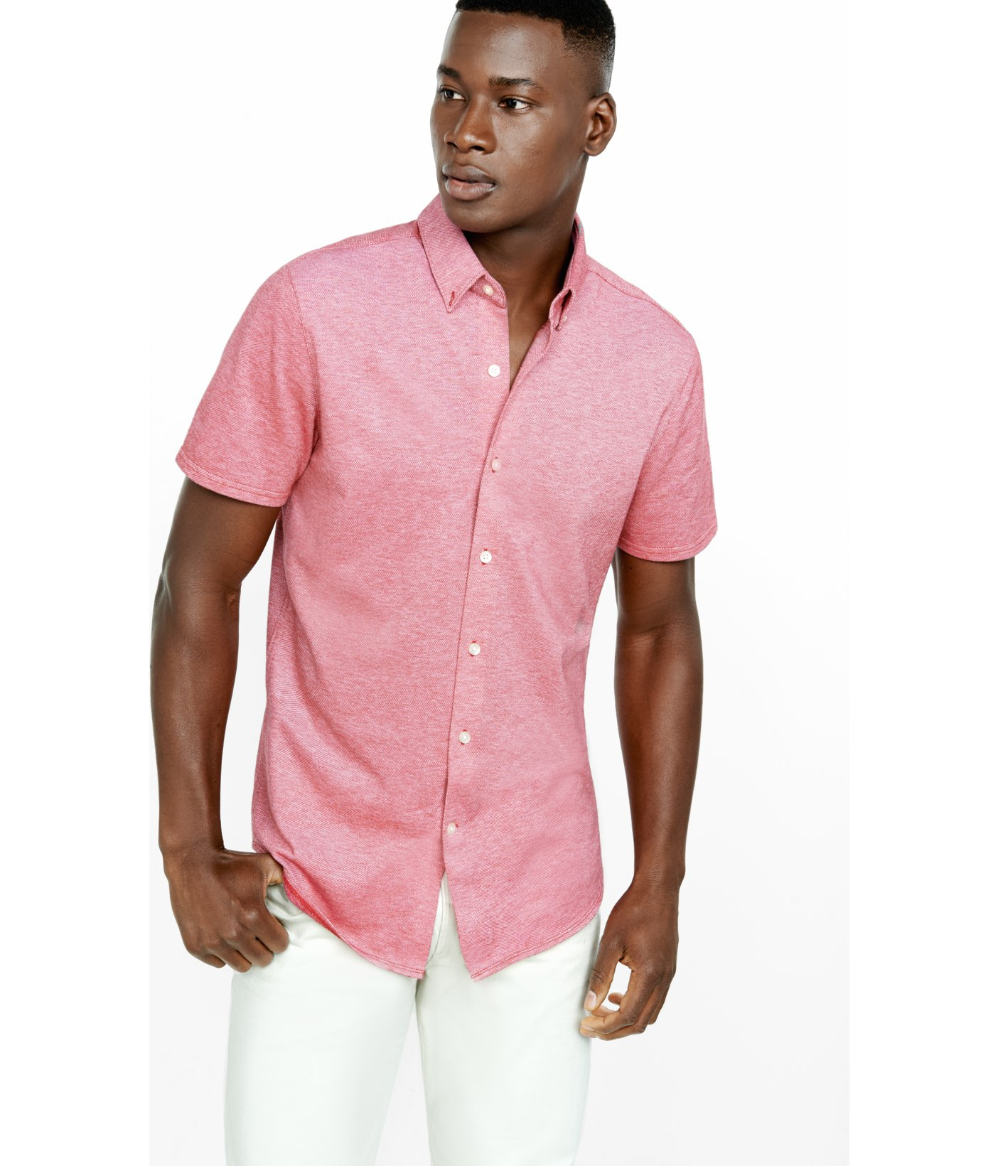 Express Pique Knit Short Sleeve Button Down Collar Shirt in Red ...