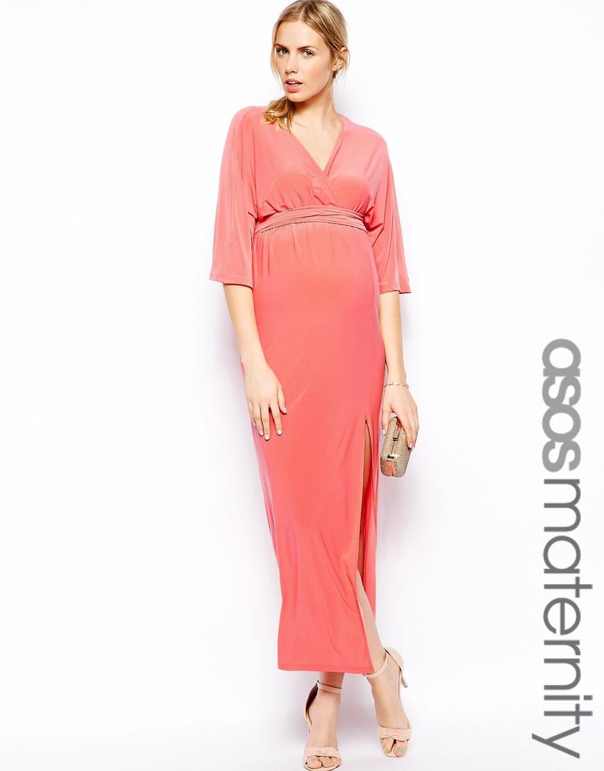 Asos Kimono Wrap Maxi Dress In Coral Pink Lyst