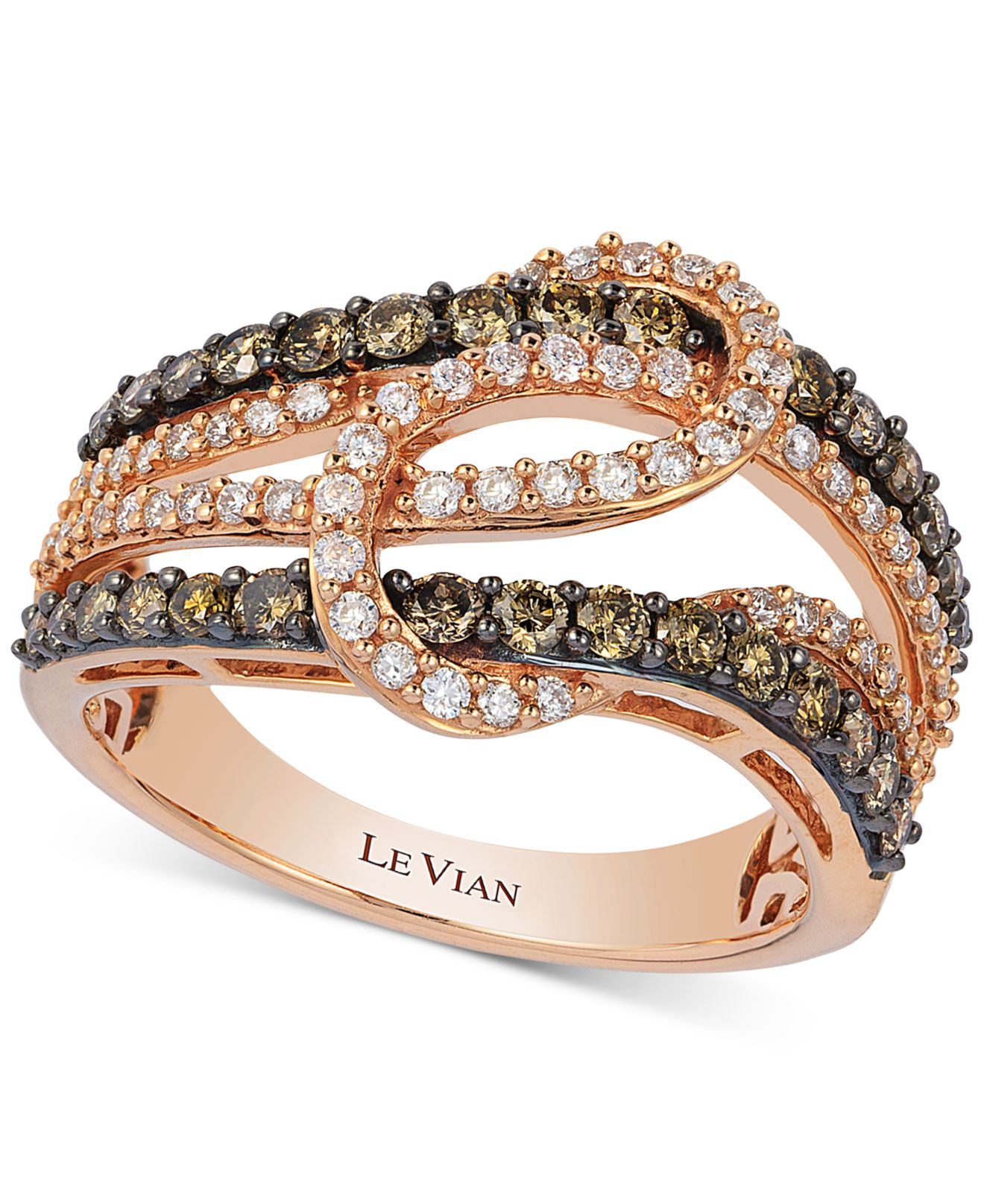 40deb4c8320 Lyst - Le Vian Diamond Interlocking Knot Ring In 14k Rose Gold (1 Ct ...
