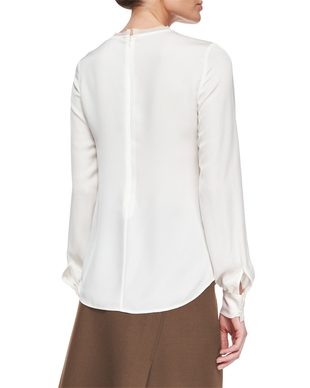 Theory Eri Long Sleeve Silk Blouse In White Ivory Lyst