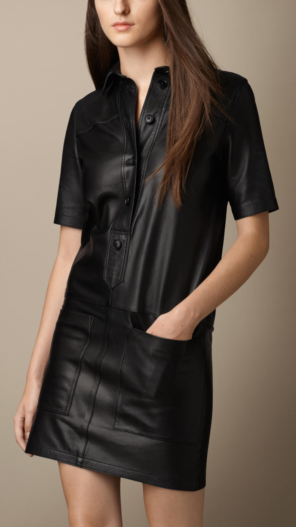 Burberry Nappa Leather Shirt Dress In Black Lyst