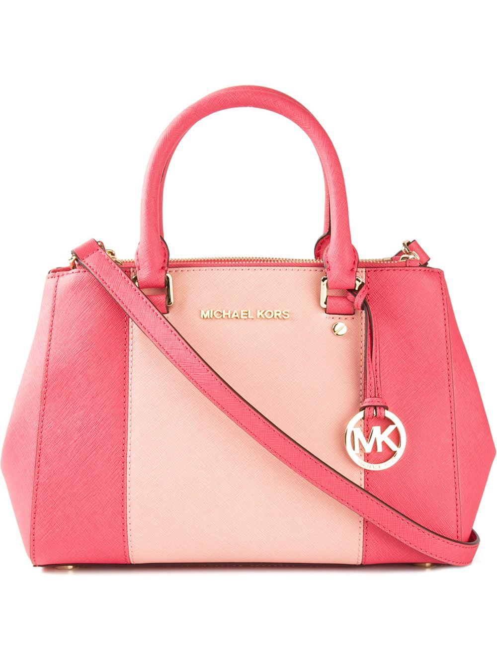 michael michael kors 39 sutton 39 colour block tote in pink pink p. Black Bedroom Furniture Sets. Home Design Ideas