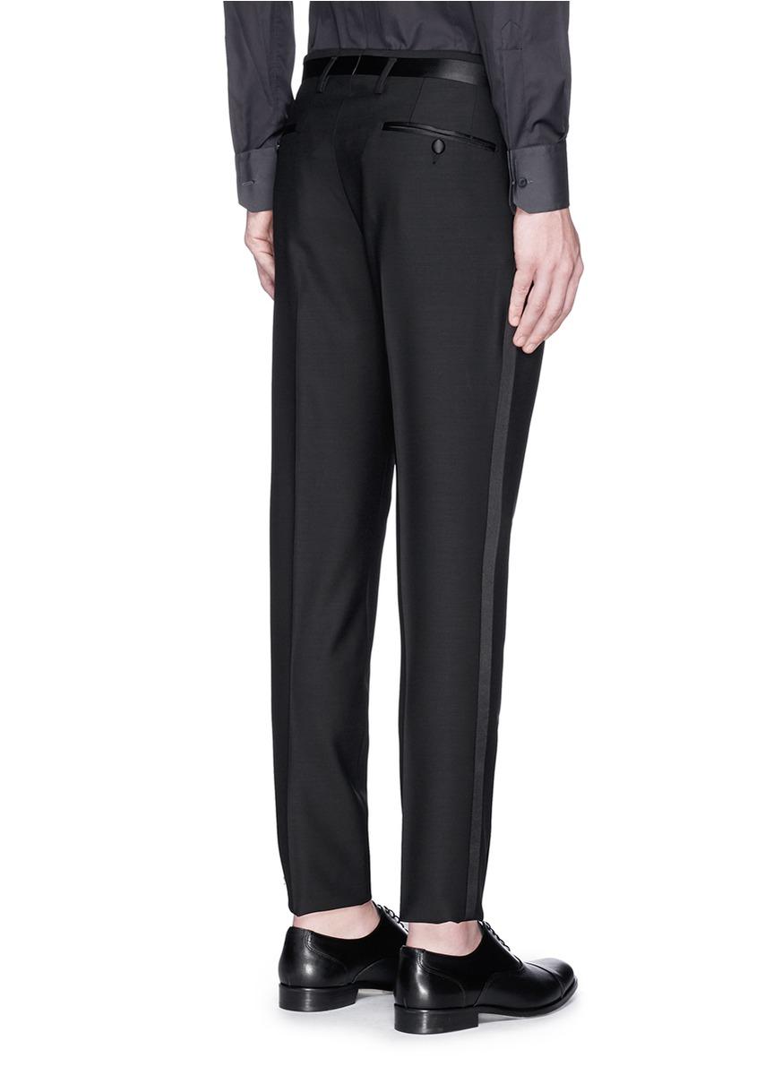 Lyst Dolce Amp Gabbana Satin Stripe Tuxedo Pants In Black