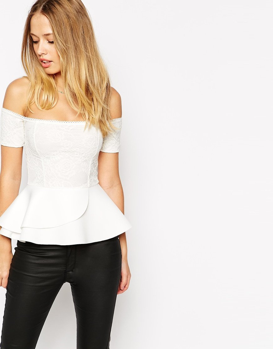 Asos Peplum Top With Bardot Off Shoulder In Bonded Lace In
