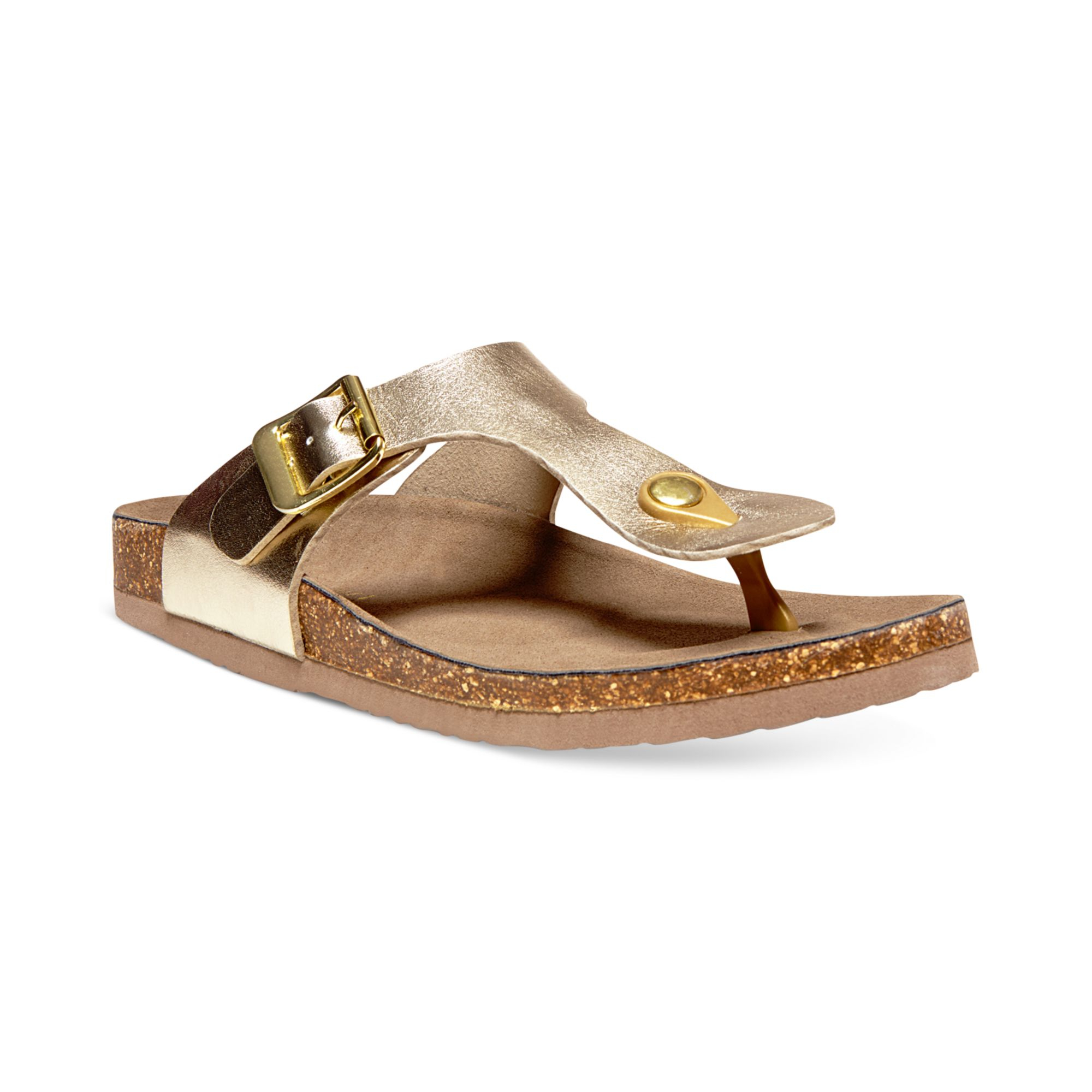 Madden Girl Boise Footbed Thong Sandals In Gold Lyst