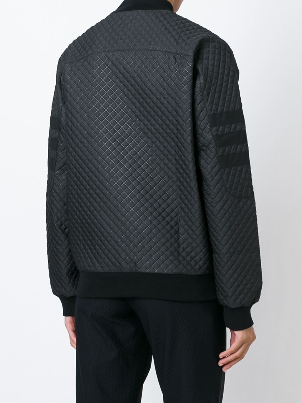 Adidas Originals Quilted Bomber Jacket In Black Lyst