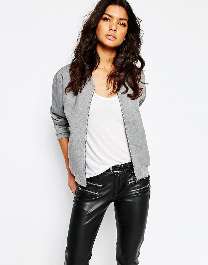 Grey Bomber Jacket Womens Coat Nj