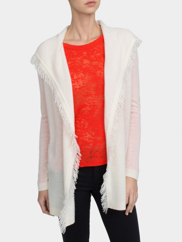 White + Warren Cashmere Fringe Hooded Cardigan in White - Lyst