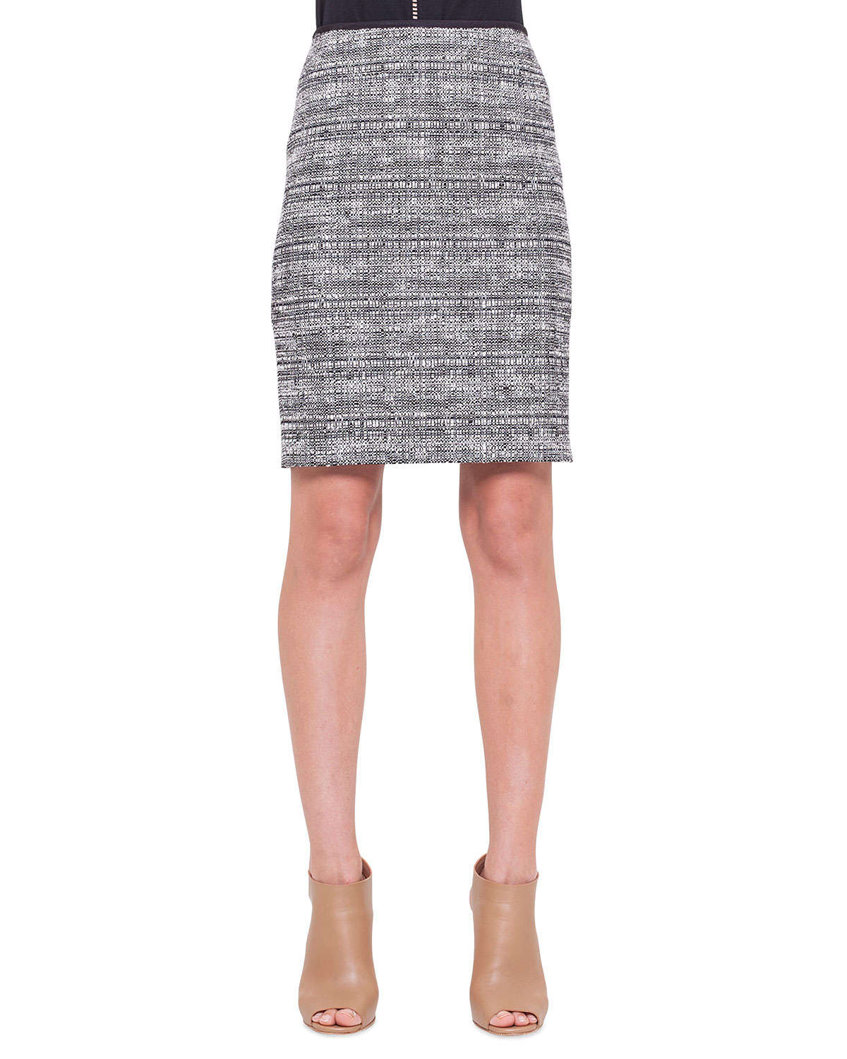 akris punto check tweed pencil skirt in gray lyst
