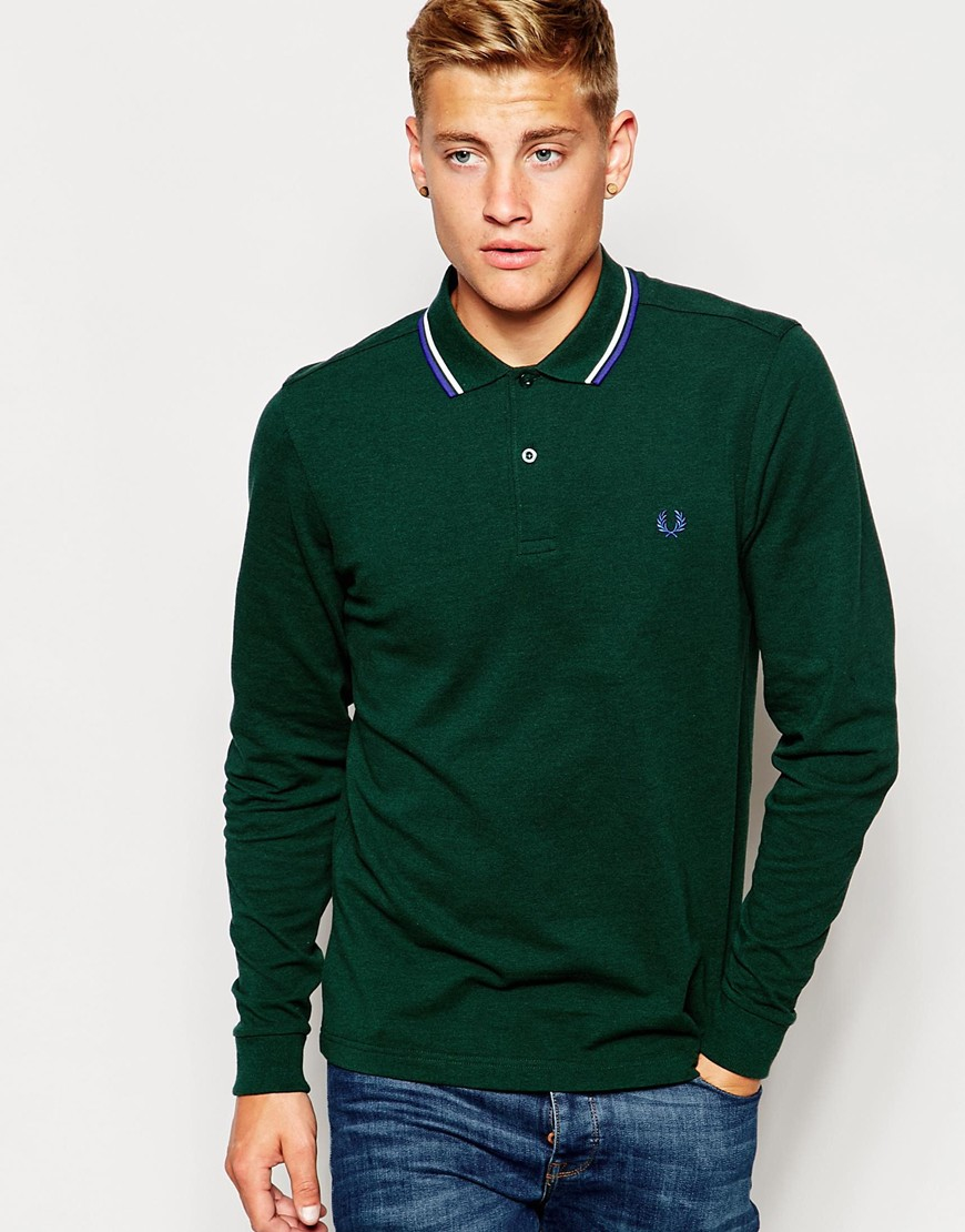 Lyst Fred Perry Polo Shirt With Twin Tip And Long Sleeves In Ivy