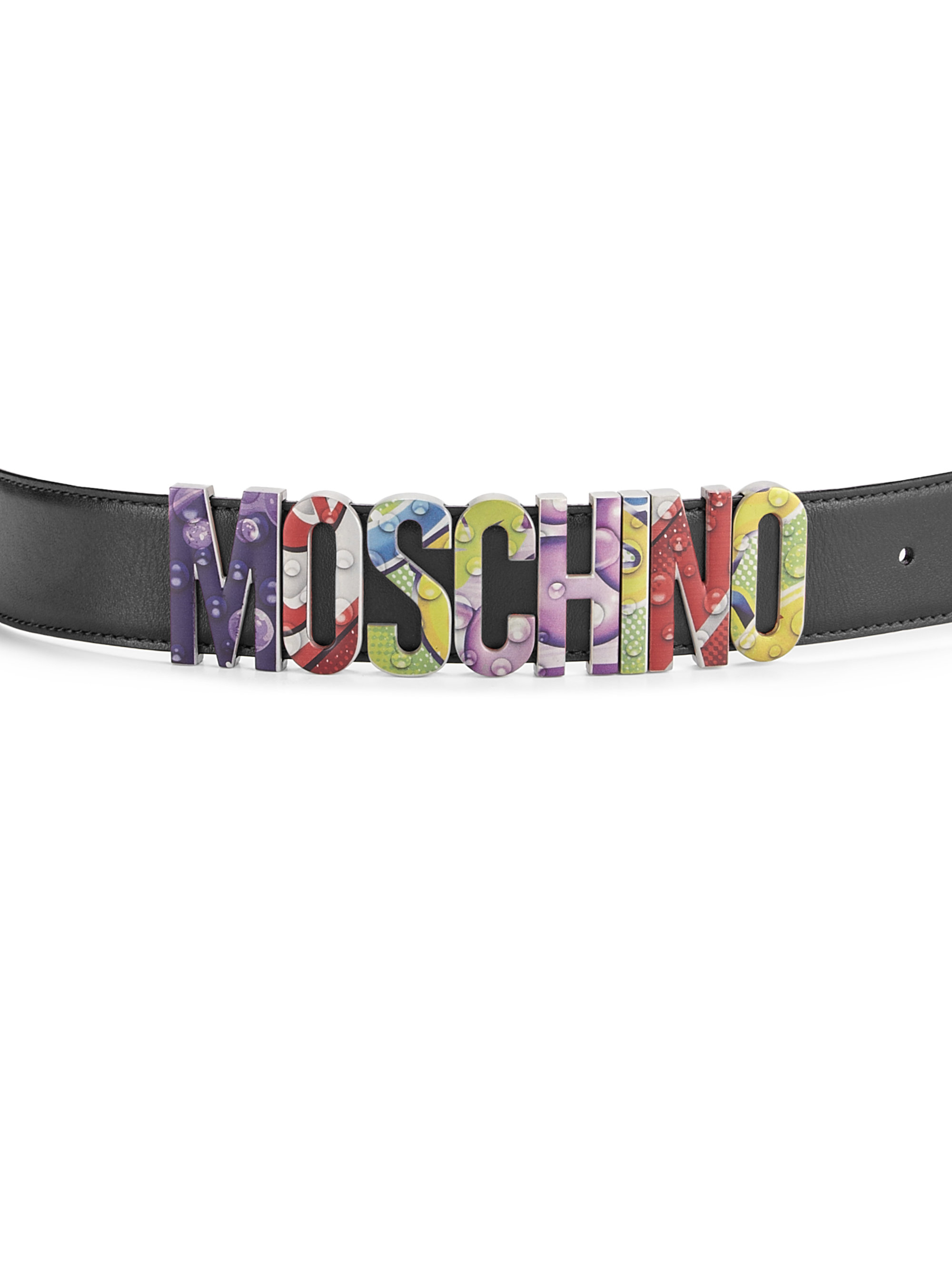 Moschino New London Side Logo Leather Belt in Black for Men : Lyst