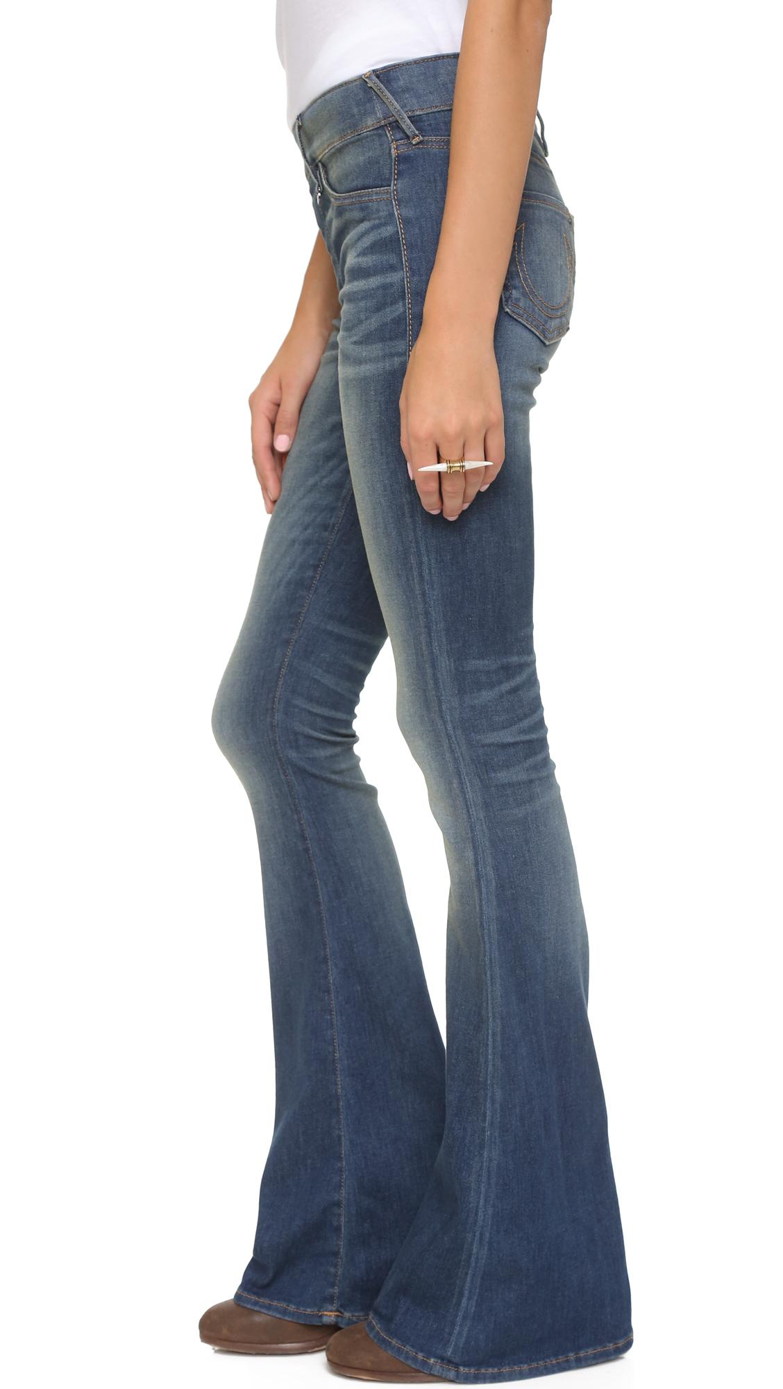 True Religion Denim Runway Pull On Flare Jeans in Blue