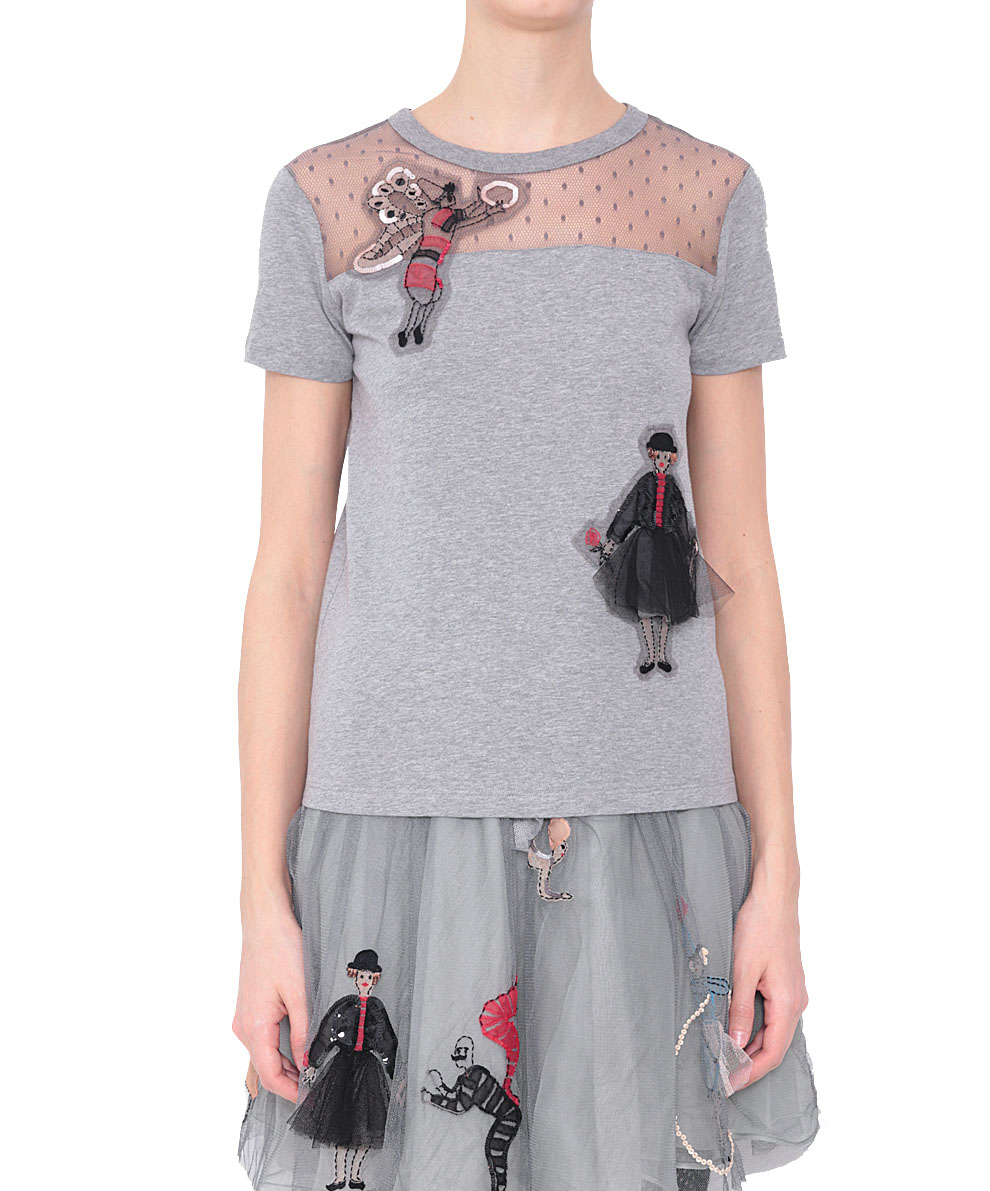 Red valentino circus cotton jersey t shirt in gray lyst for Red valentino t shirt