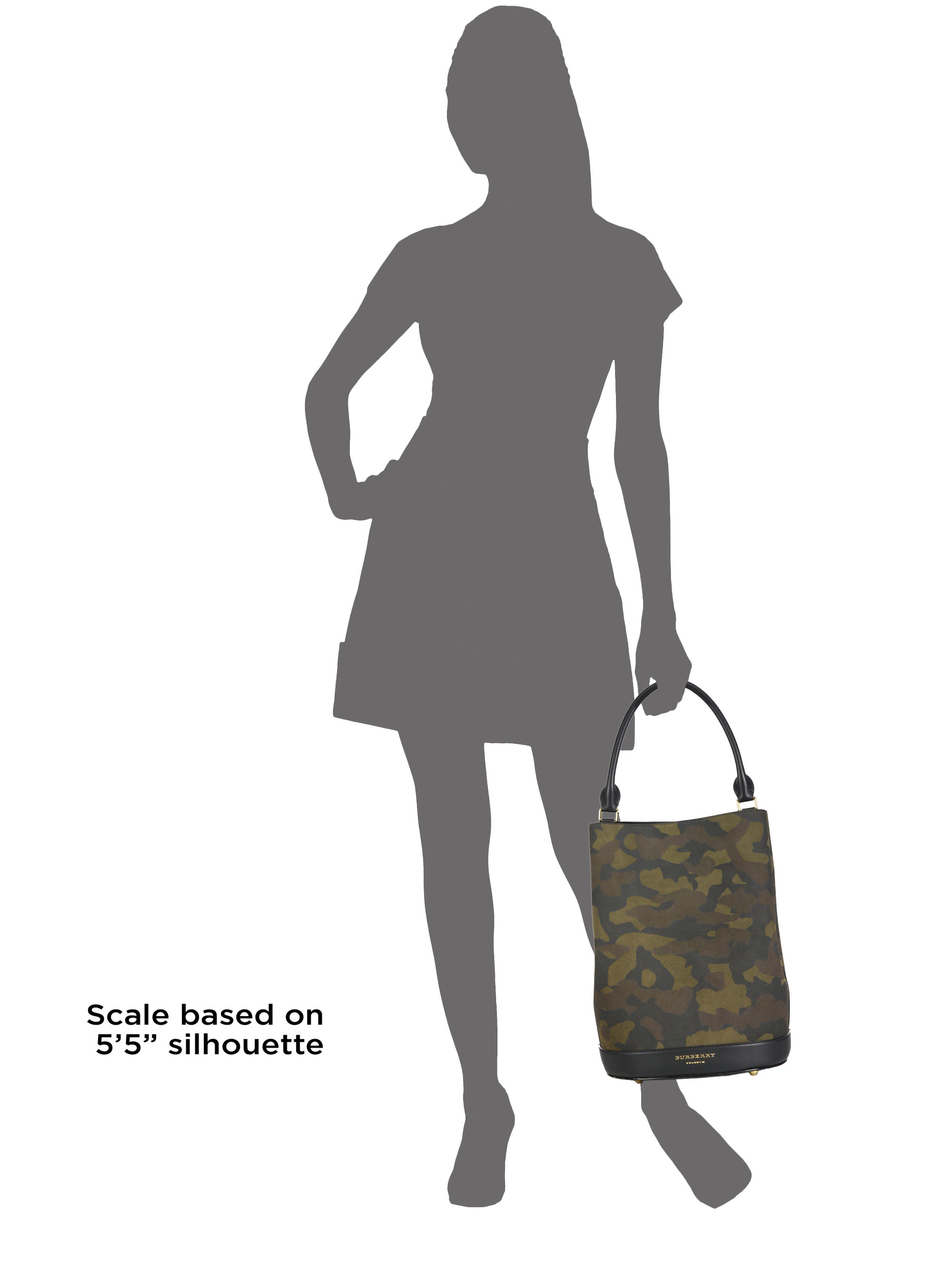 Lyst - Burberry Camouflage Leather Bucket Bag in Green 471a87e982