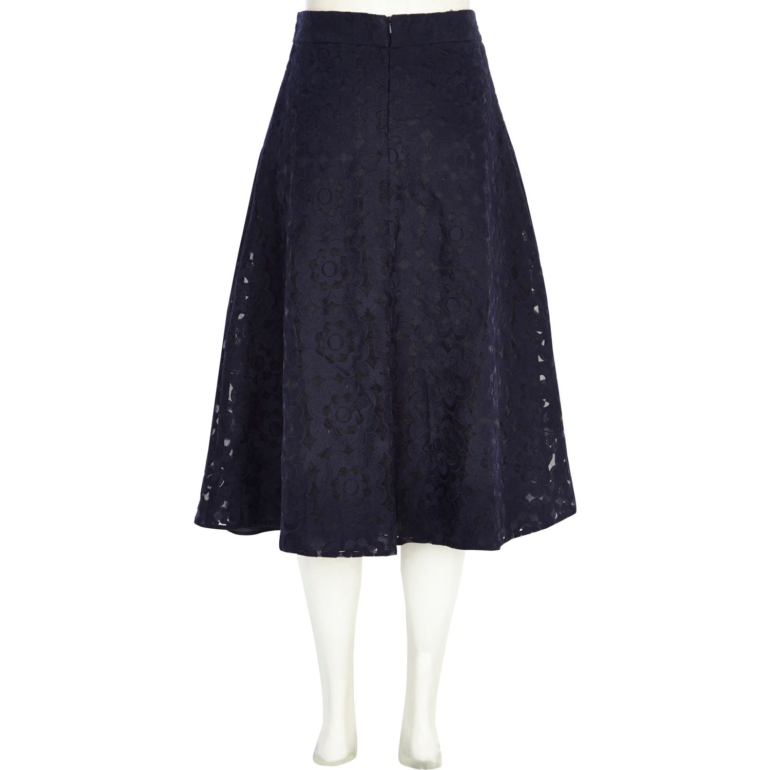 river island navy floral embroidered a line midi skirt in