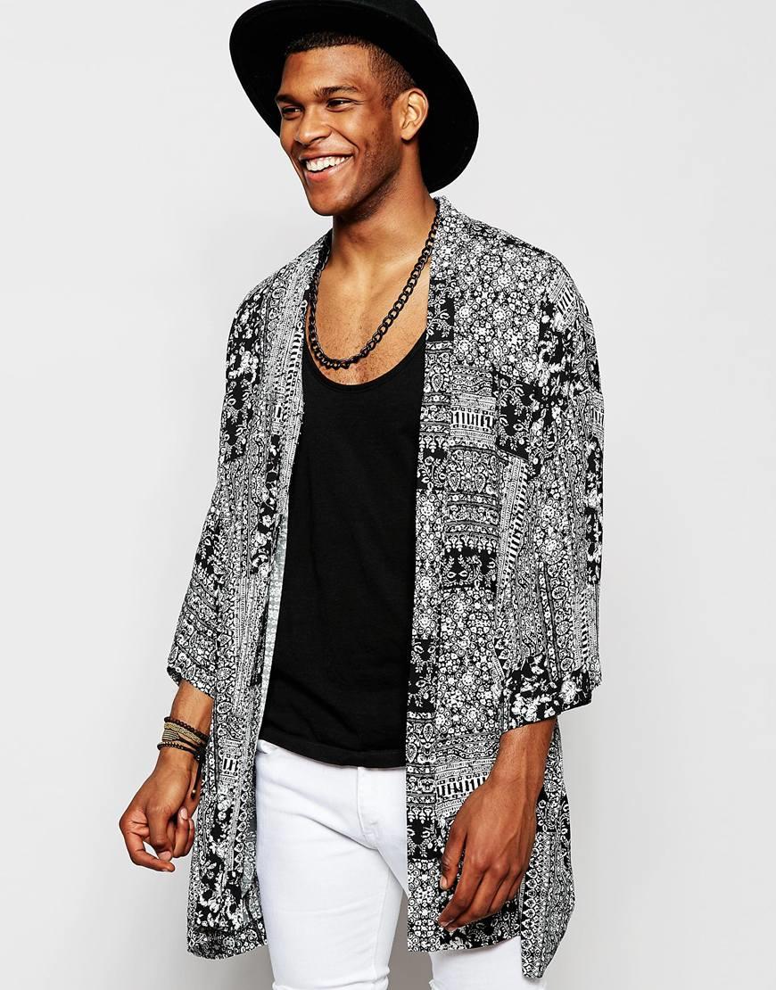Asos Bandana Kimono in Black for Men | Lyst
