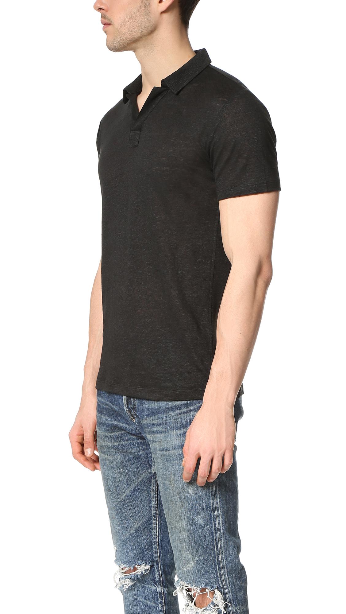 Vince Linen Short Sleeve Polo Shirt In Black For Men Lyst