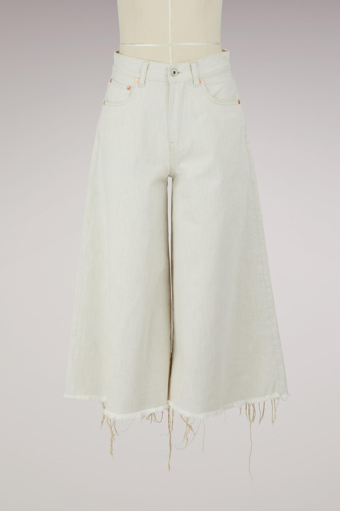 lyst off white c o virgil abloh denim culottes in white. Black Bedroom Furniture Sets. Home Design Ideas