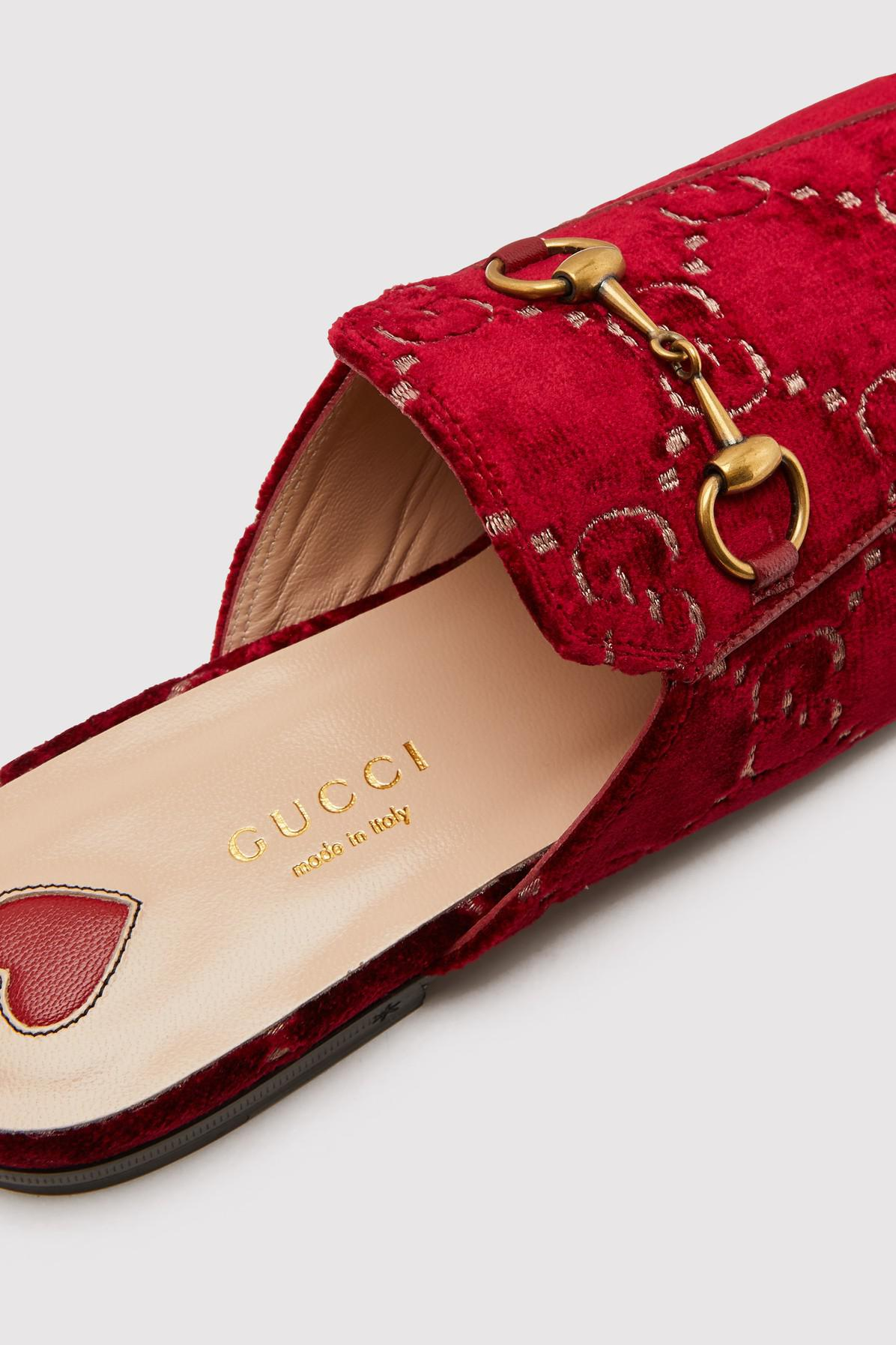 1ab97856dbf Lyst - Gucci Princetown Gg Velvet Slippers in Red