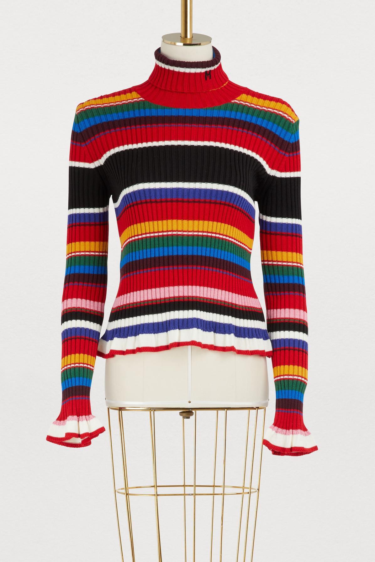 Women's Red Sweater Turtleneck Striped Msgm 4YPdxwwz